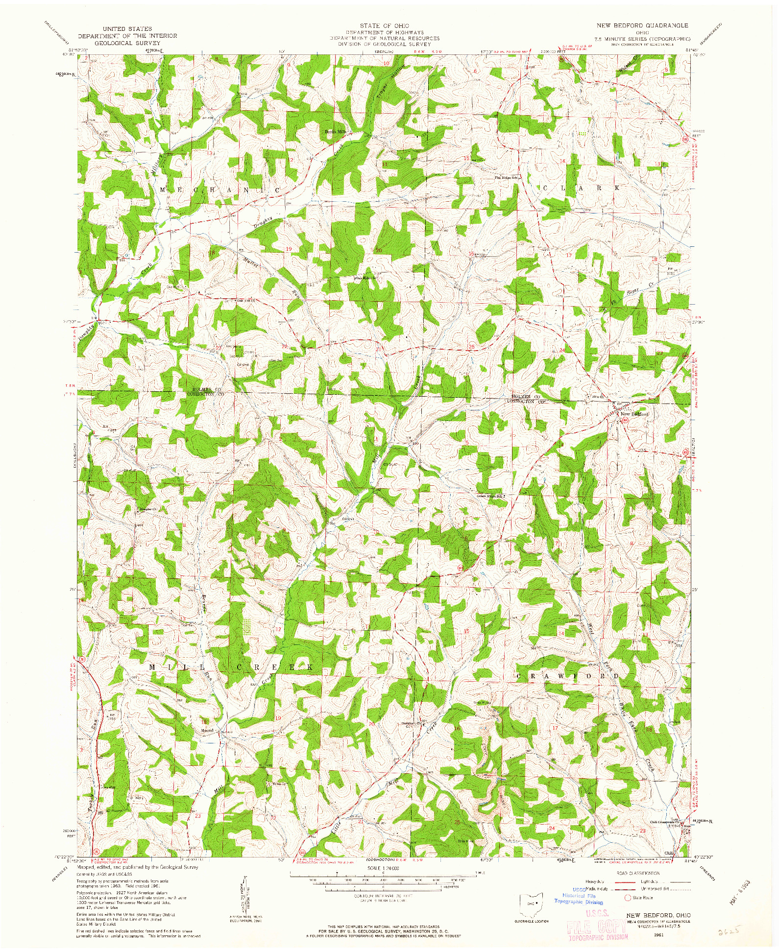 USGS 1:24000-SCALE QUADRANGLE FOR NEW BEDFORD, OH 1961