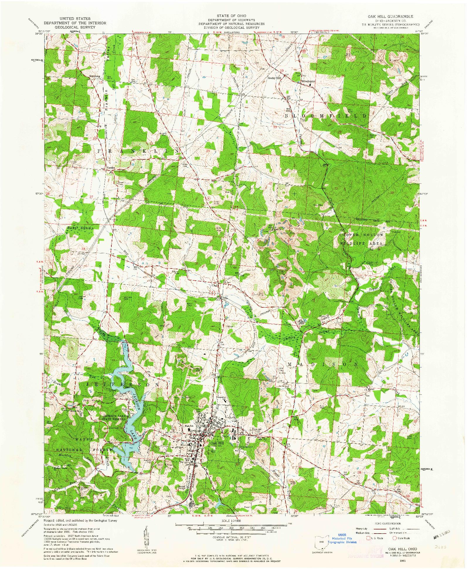 USGS 1:24000-SCALE QUADRANGLE FOR OAK HILL, OH 1961