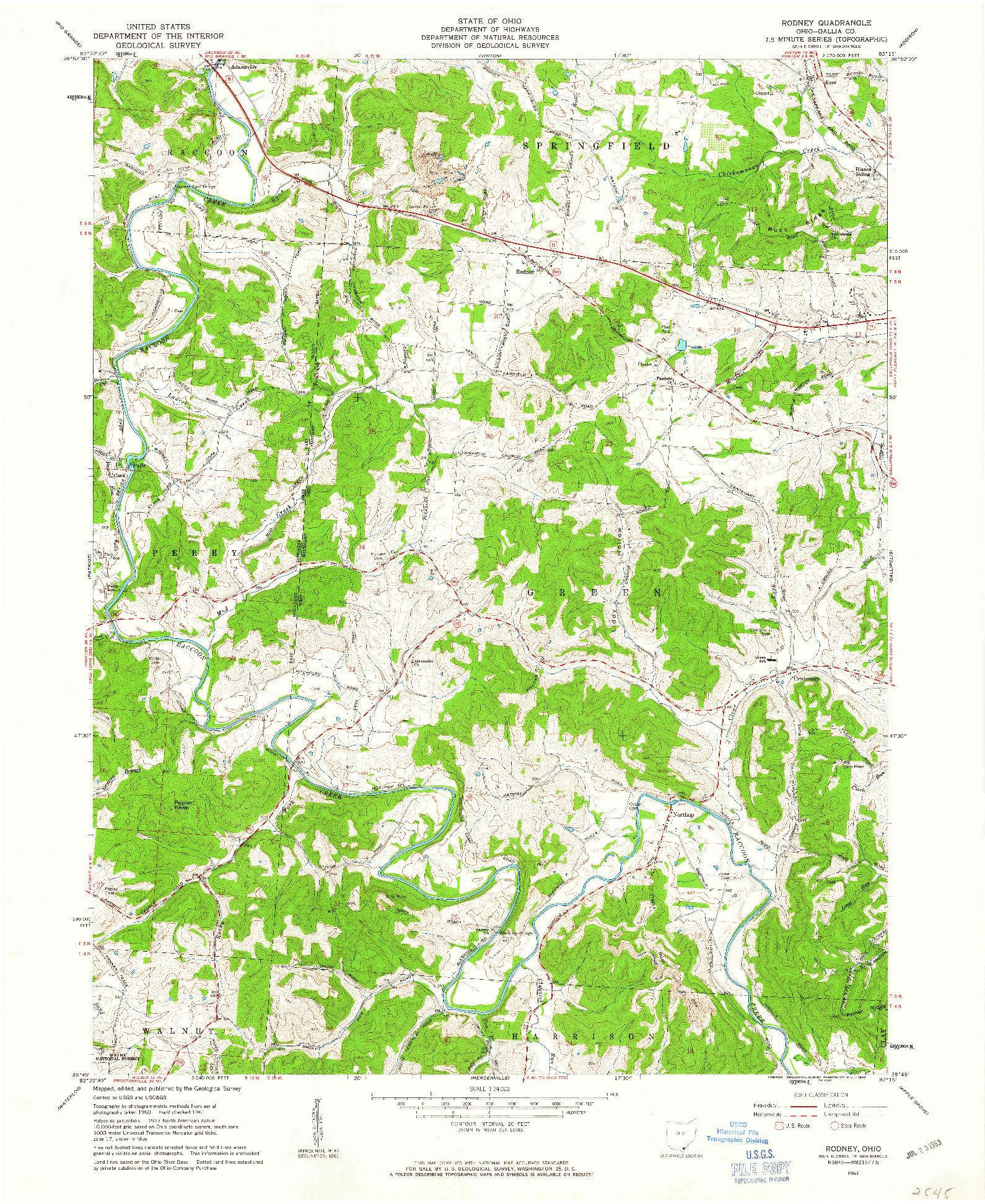 USGS 1:24000-SCALE QUADRANGLE FOR RODNEY, OH 1961