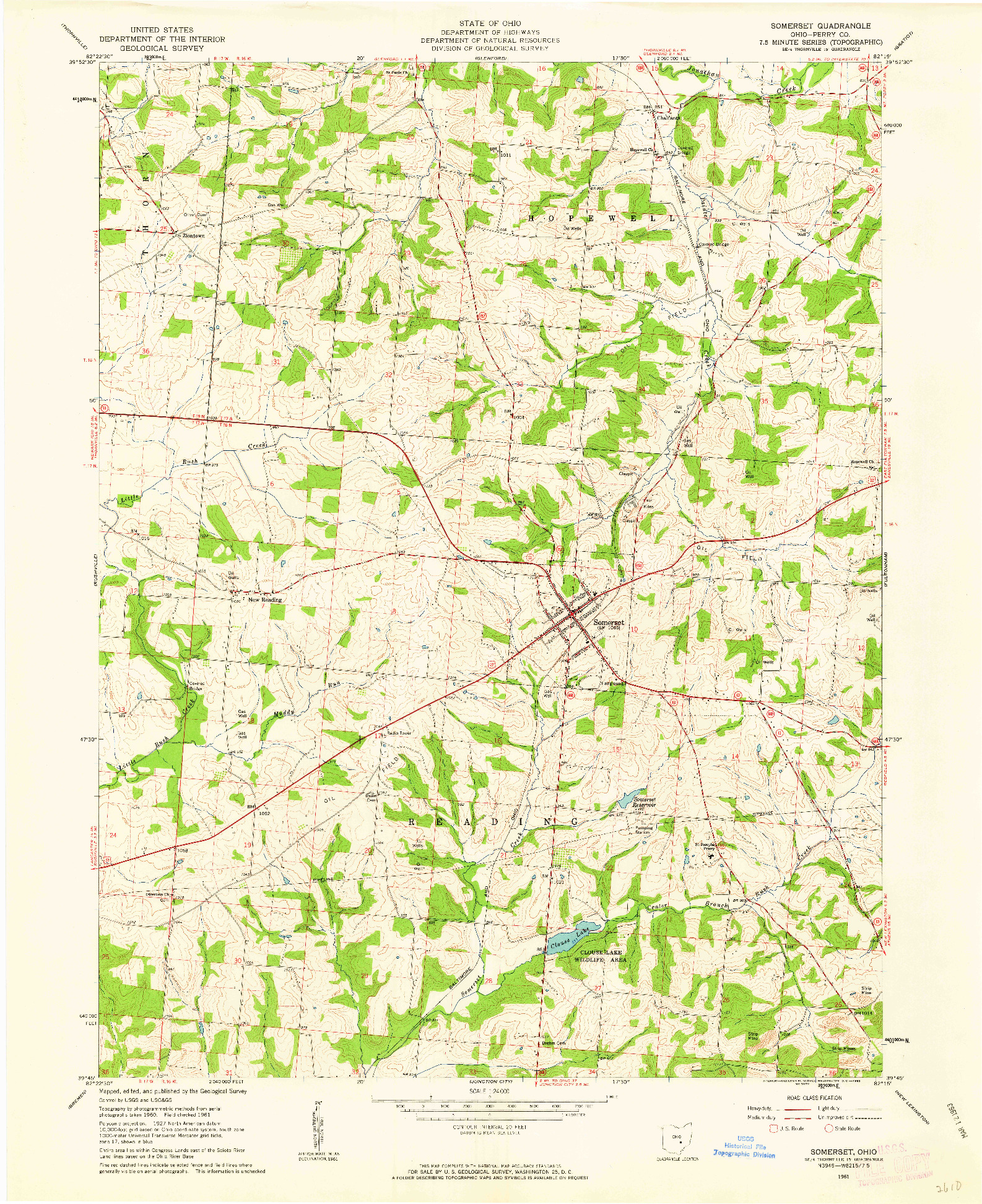 USGS 1:24000-SCALE QUADRANGLE FOR SOMERSET, OH 1961