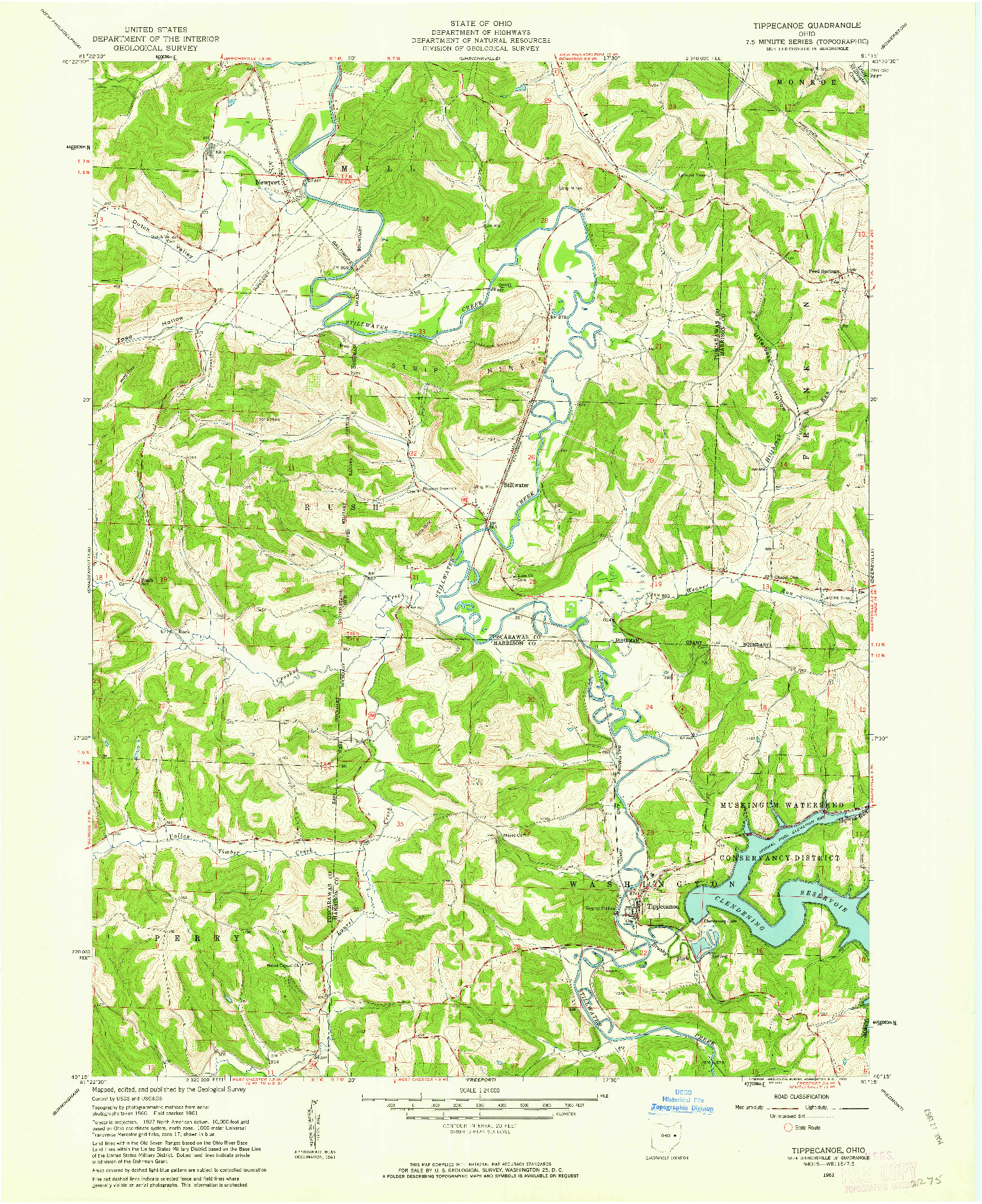 USGS 1:24000-SCALE QUADRANGLE FOR TIPPECANOE, OH 1961