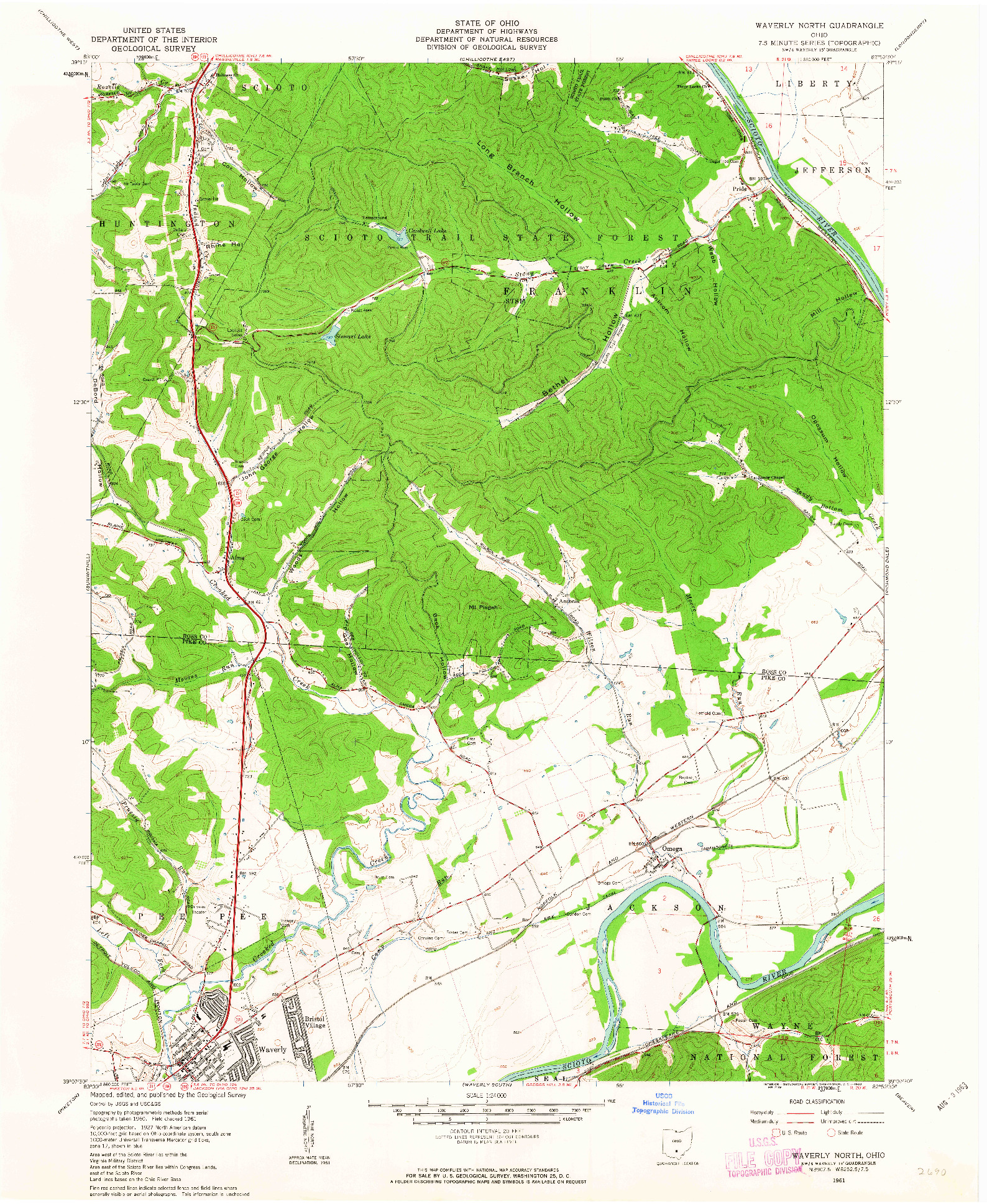 USGS 1:24000-SCALE QUADRANGLE FOR WAVERLY NORTH, OH 1961