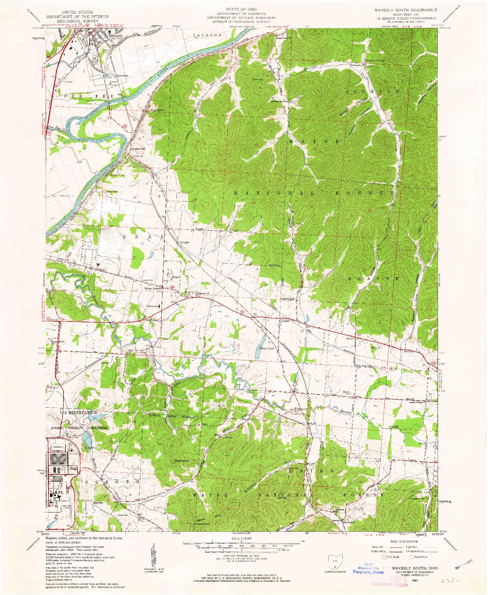 USGS 1:24000-SCALE QUADRANGLE FOR WAVERLY SOUTH, OH 1961