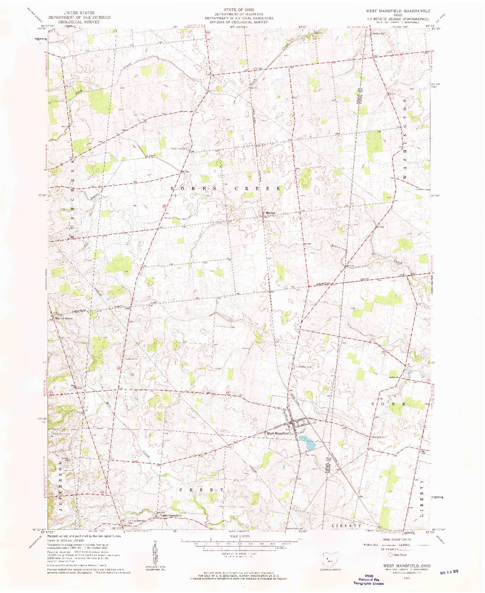 USGS 1:24000-SCALE QUADRANGLE FOR WEST MANSFIELD, OH 1961