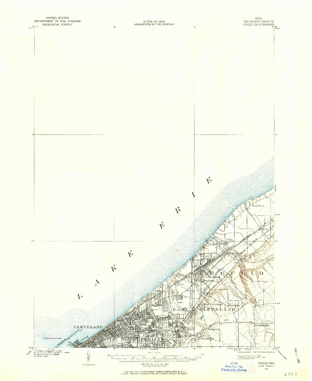 USGS 1:62500-SCALE QUADRANGLE FOR EUCLID, OH 1901