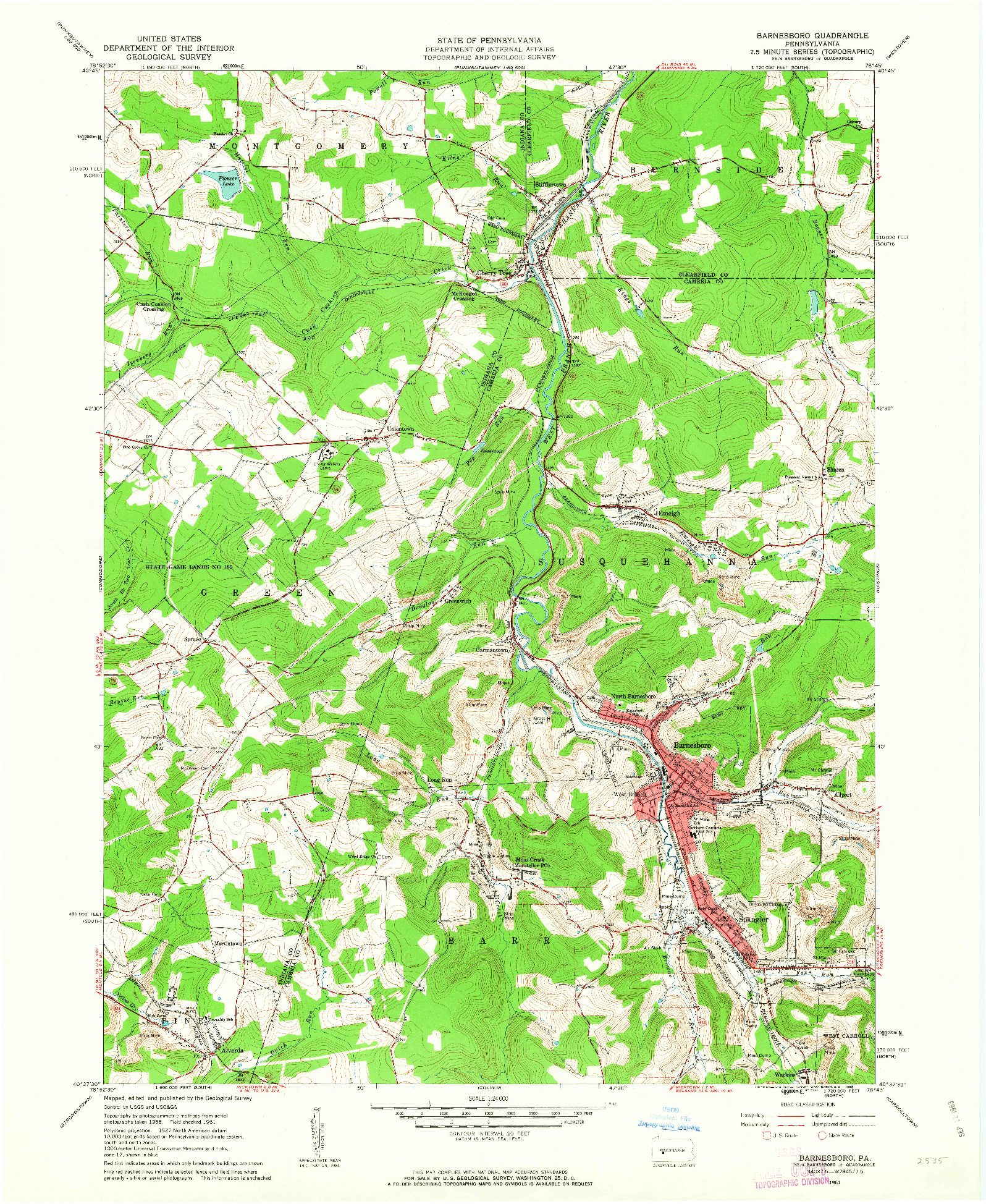 USGS 1:24000-SCALE QUADRANGLE FOR BARNESBORO, PA 1961