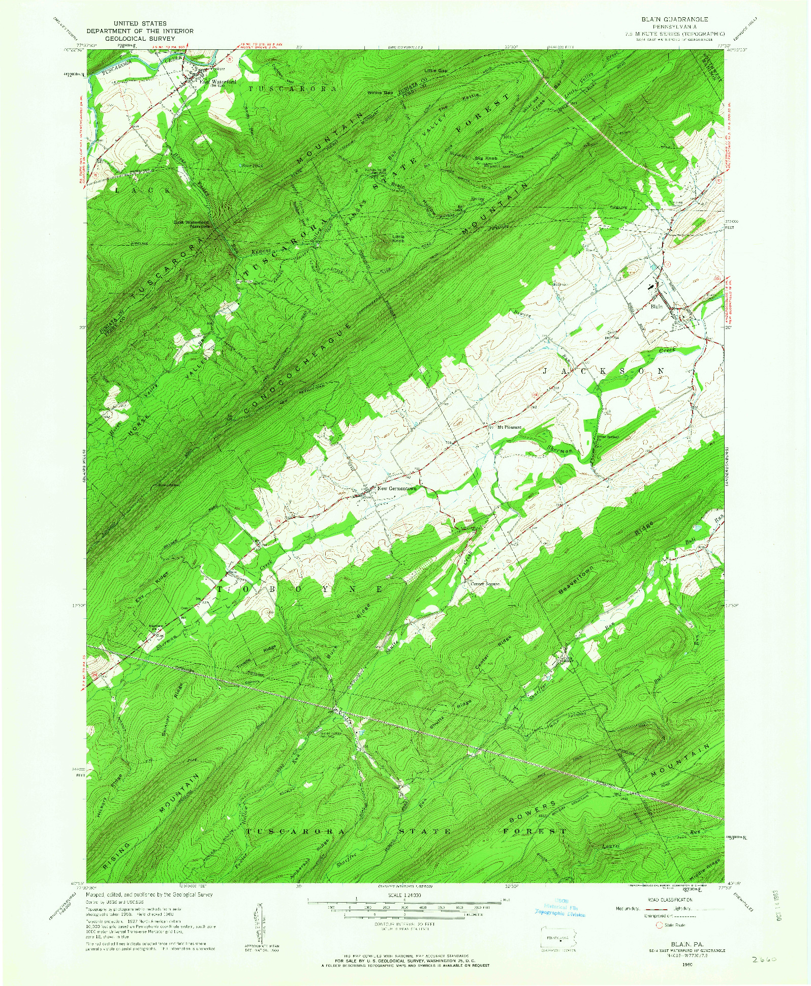 USGS 1:24000-SCALE QUADRANGLE FOR BLAIN, PA 1960