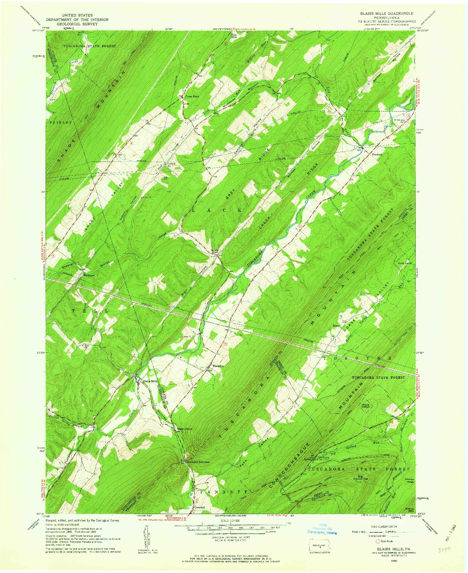 USGS 1:24000-SCALE QUADRANGLE FOR BLAIRS MILLS, PA 1960