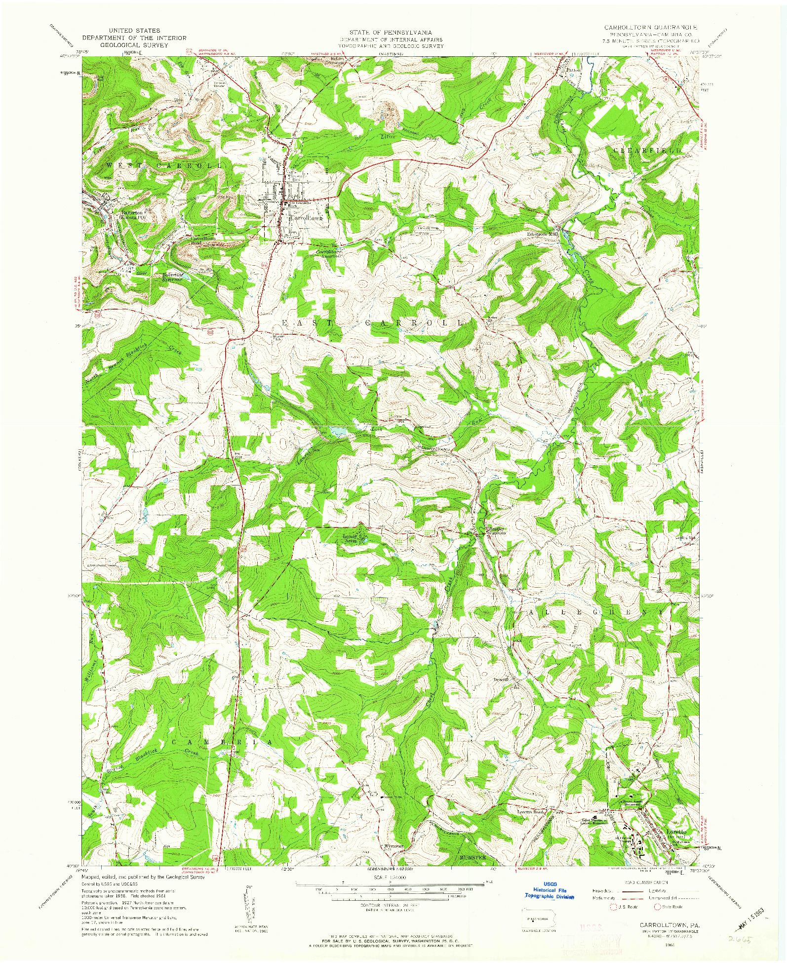 USGS 1:24000-SCALE QUADRANGLE FOR CARROLLTOWN, PA 1961