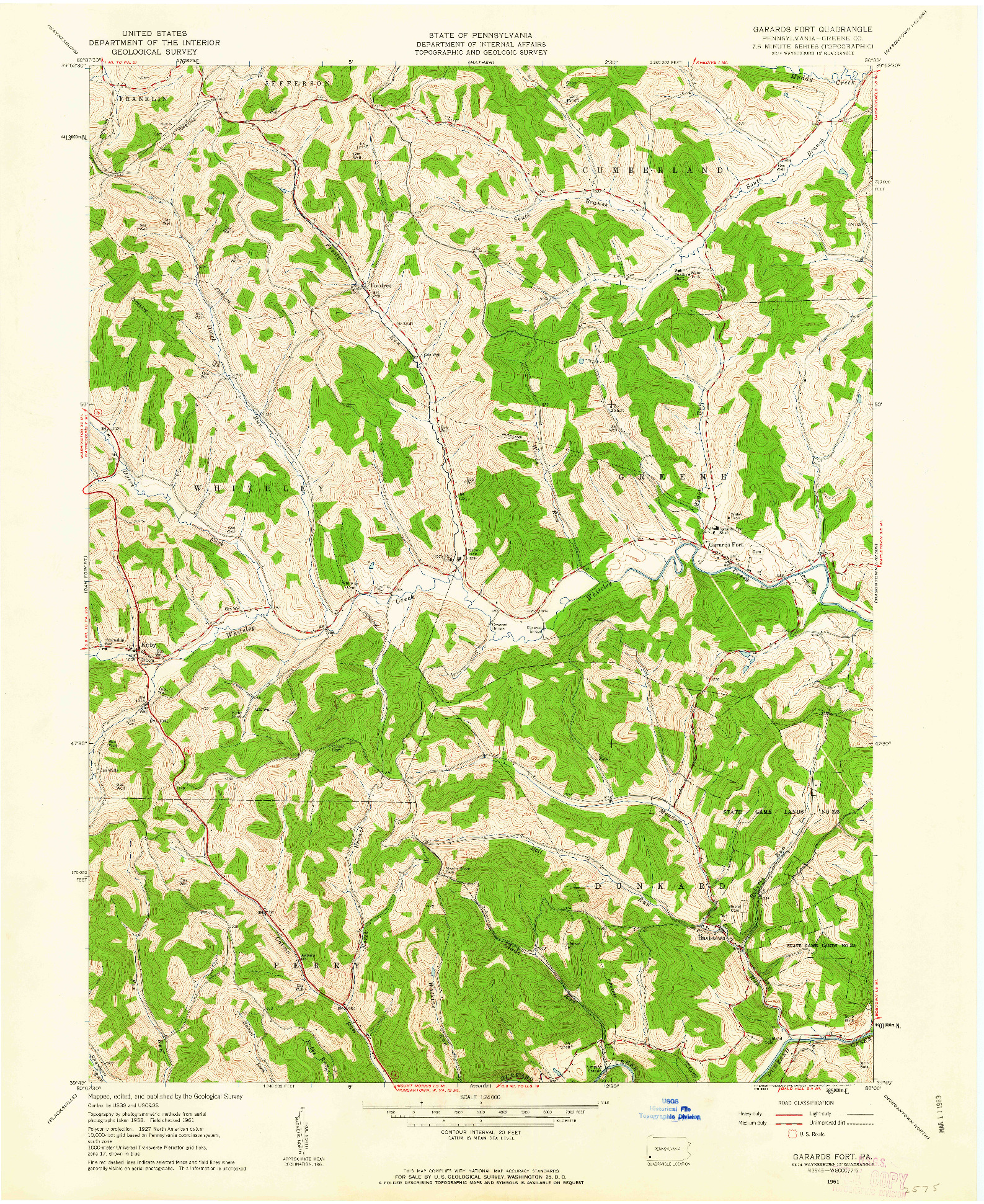 USGS 1:24000-SCALE QUADRANGLE FOR GARARDS FORT, PA 1961