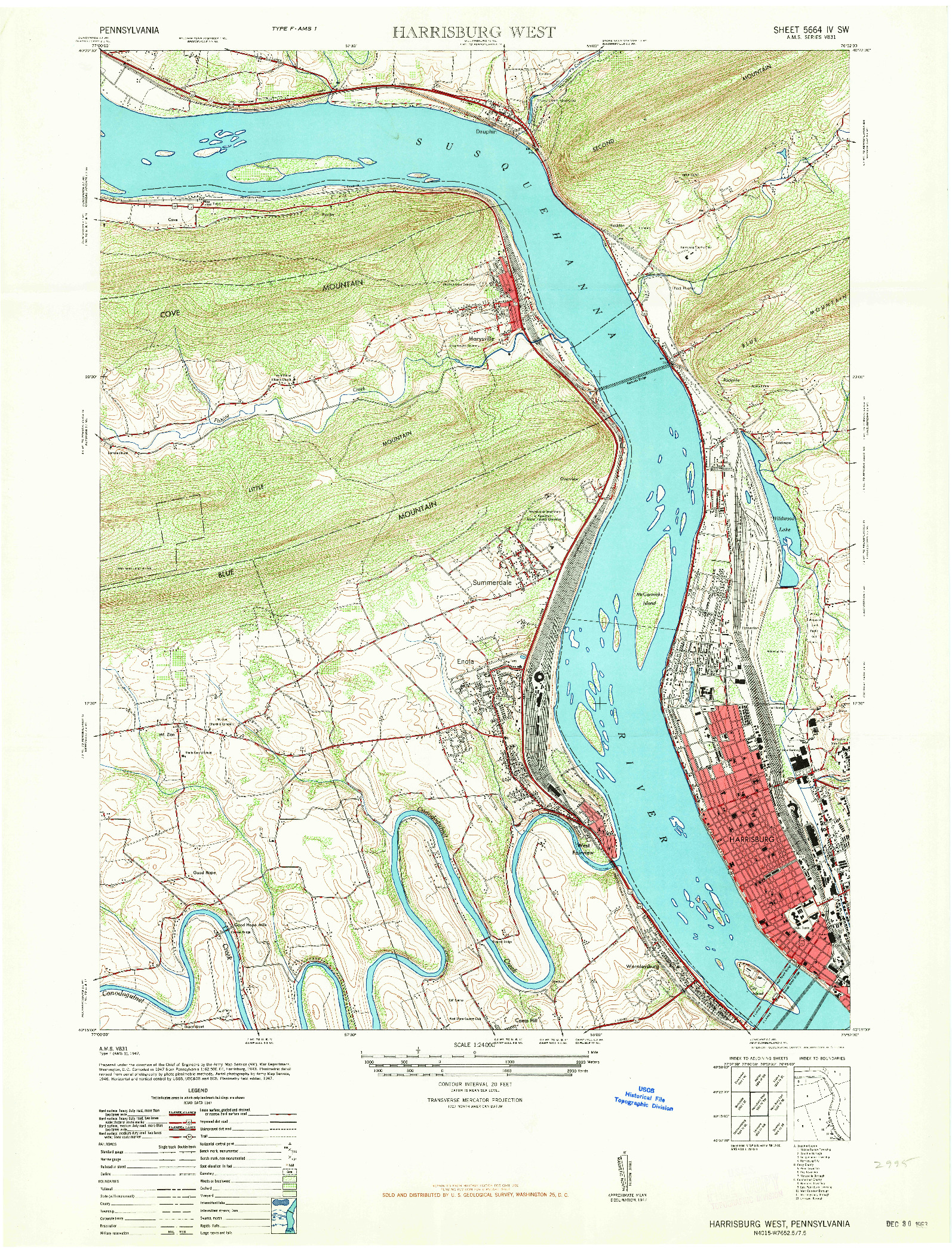 USGS 1:24000-SCALE QUADRANGLE FOR HARRISBURG WEST, PA 1963