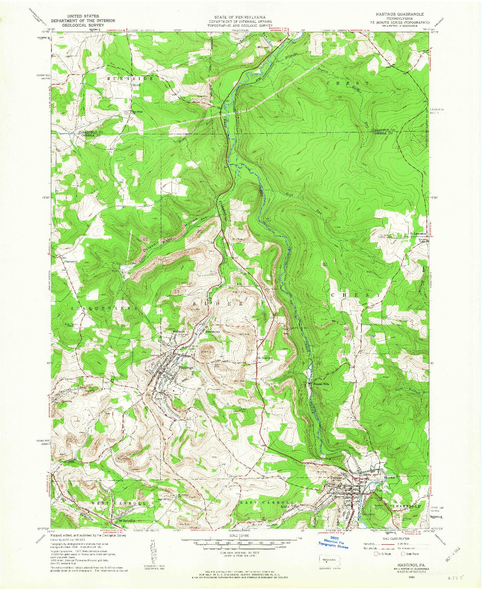 USGS 1:24000-SCALE QUADRANGLE FOR HASTINGS, PA 1961
