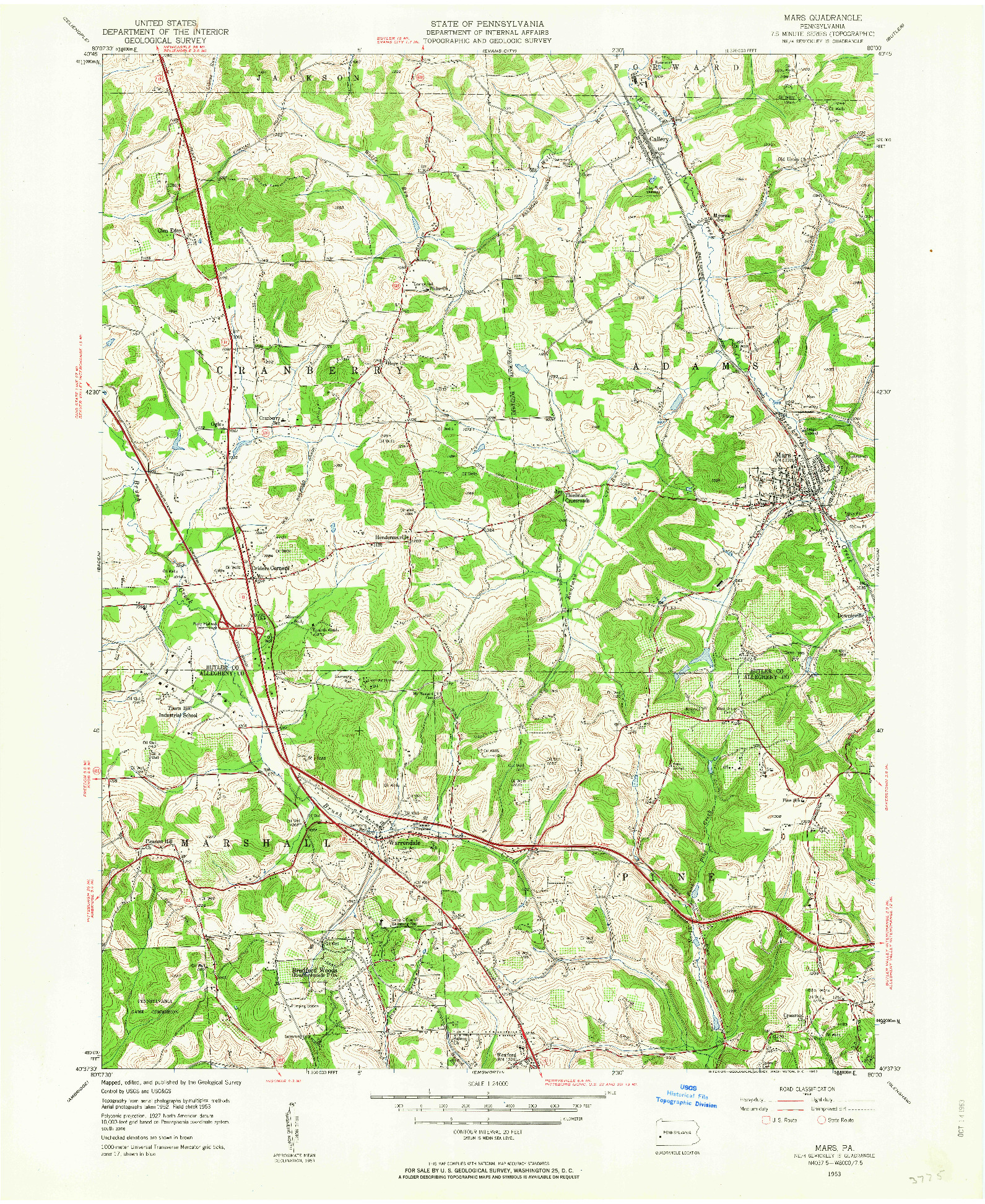 USGS 1:24000-SCALE QUADRANGLE FOR MARS, PA 1953
