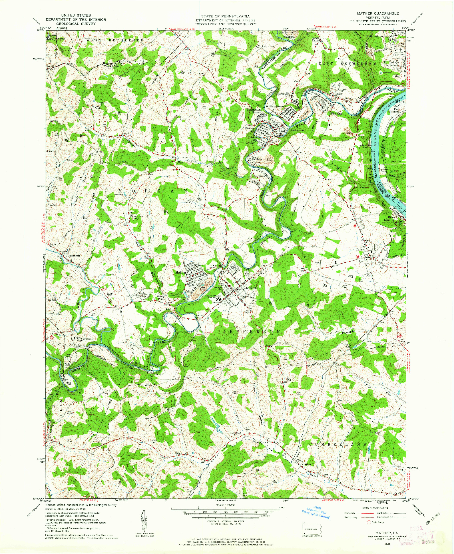 USGS 1:24000-SCALE QUADRANGLE FOR MATHER, PA 1961