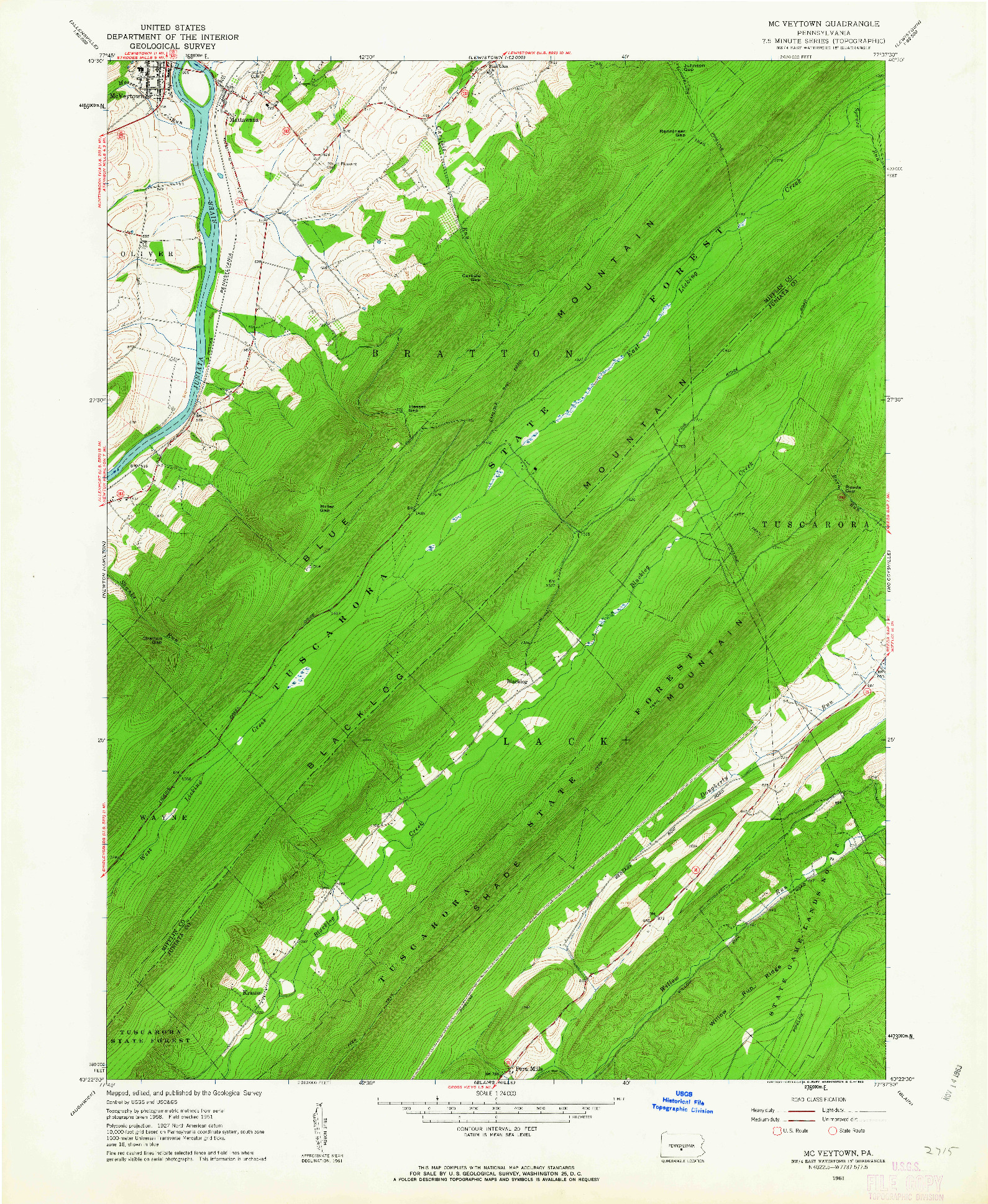 USGS 1:24000-SCALE QUADRANGLE FOR MC VEYTOWN, PA 1961