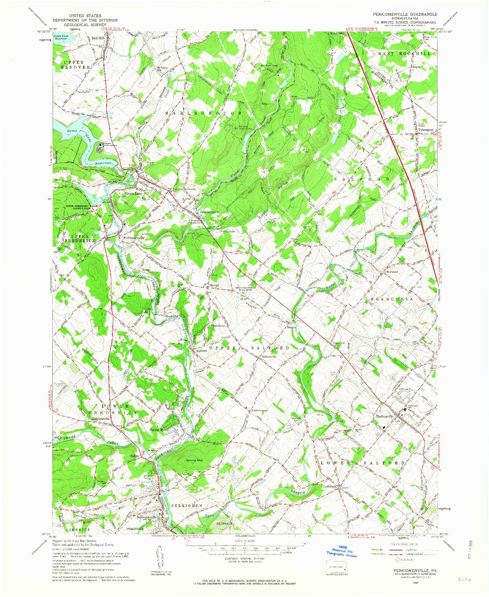 USGS 1:24000-SCALE QUADRANGLE FOR PERKIOMENVILLE, PA 1960