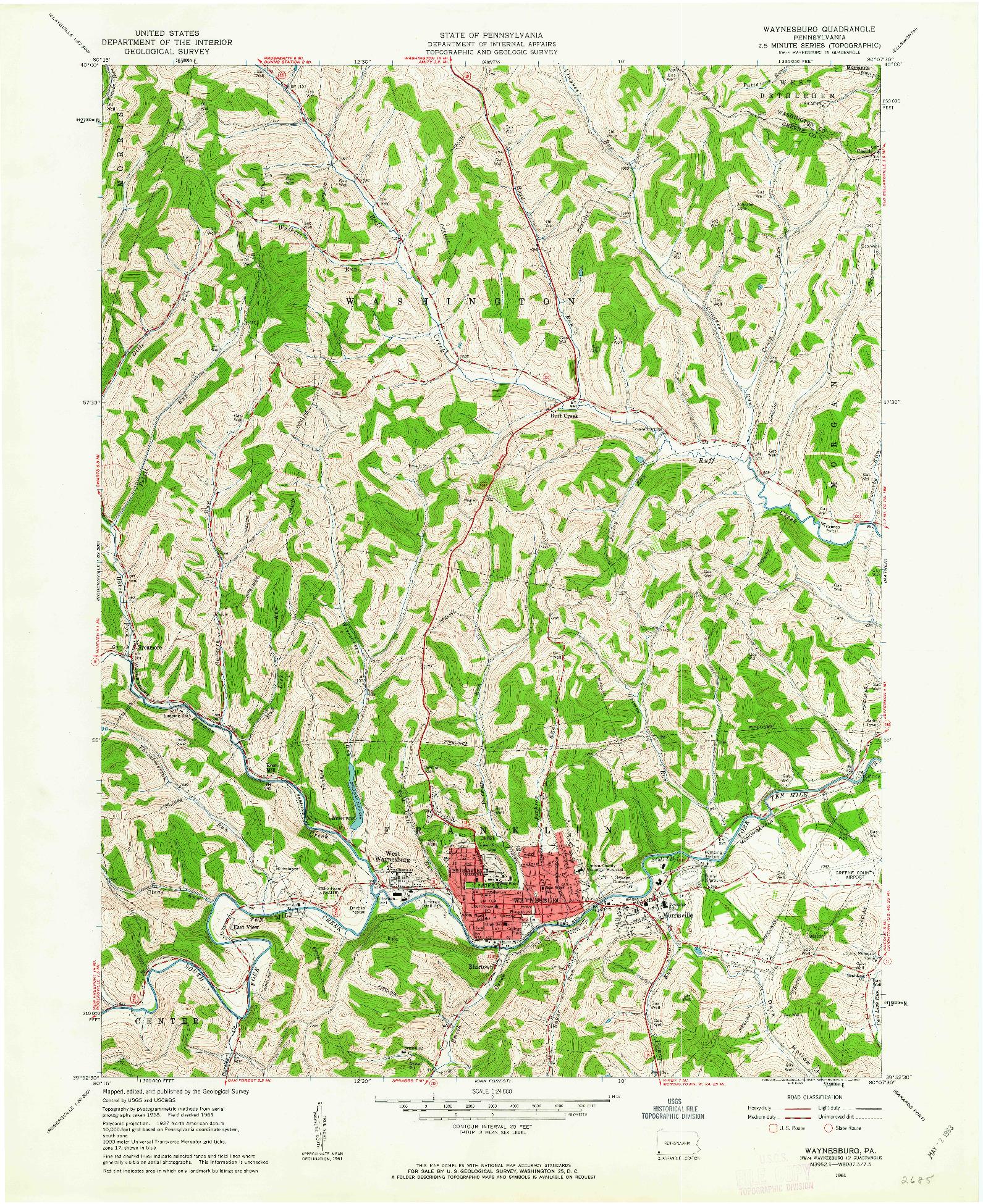 USGS 1:24000-SCALE QUADRANGLE FOR WAYNESBURG, PA 1961