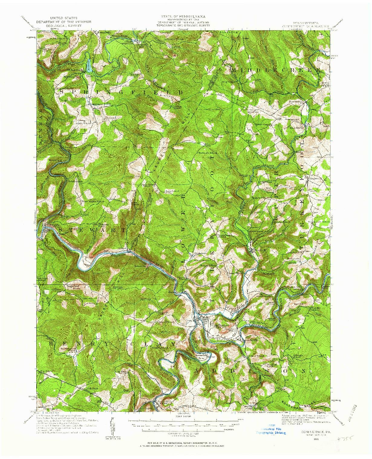 USGS 1:62500-SCALE QUADRANGLE FOR CONFLUENCE, PA 1931