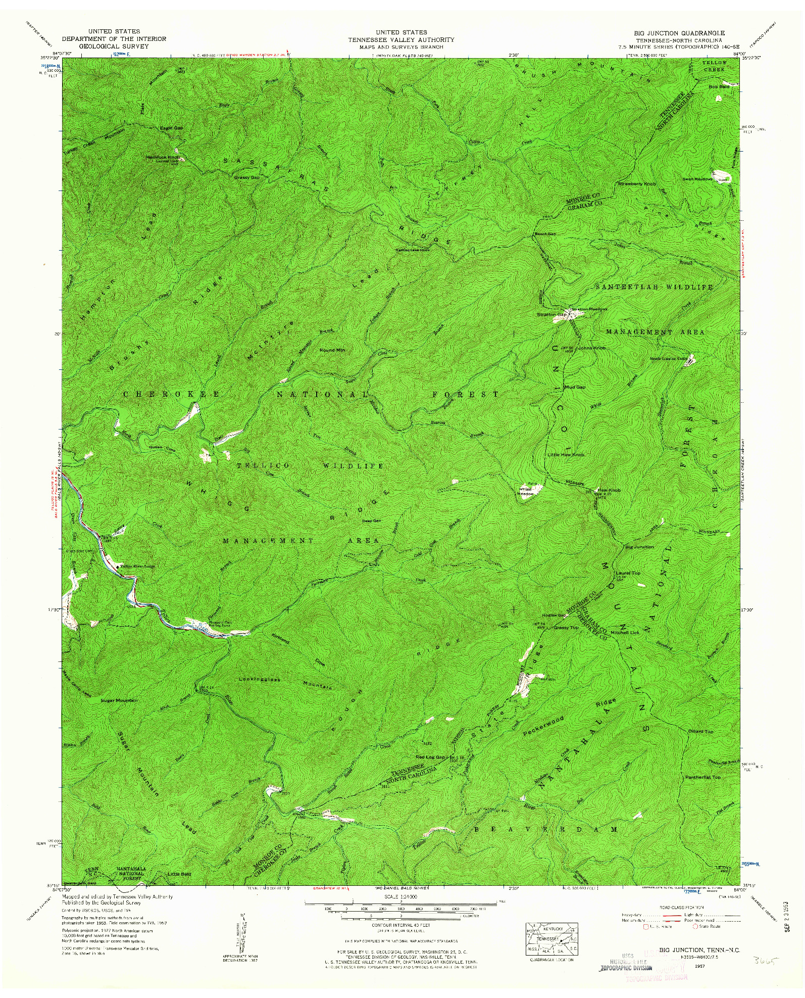 USGS 1:24000-SCALE QUADRANGLE FOR BIG JUNCTION, TN 1957