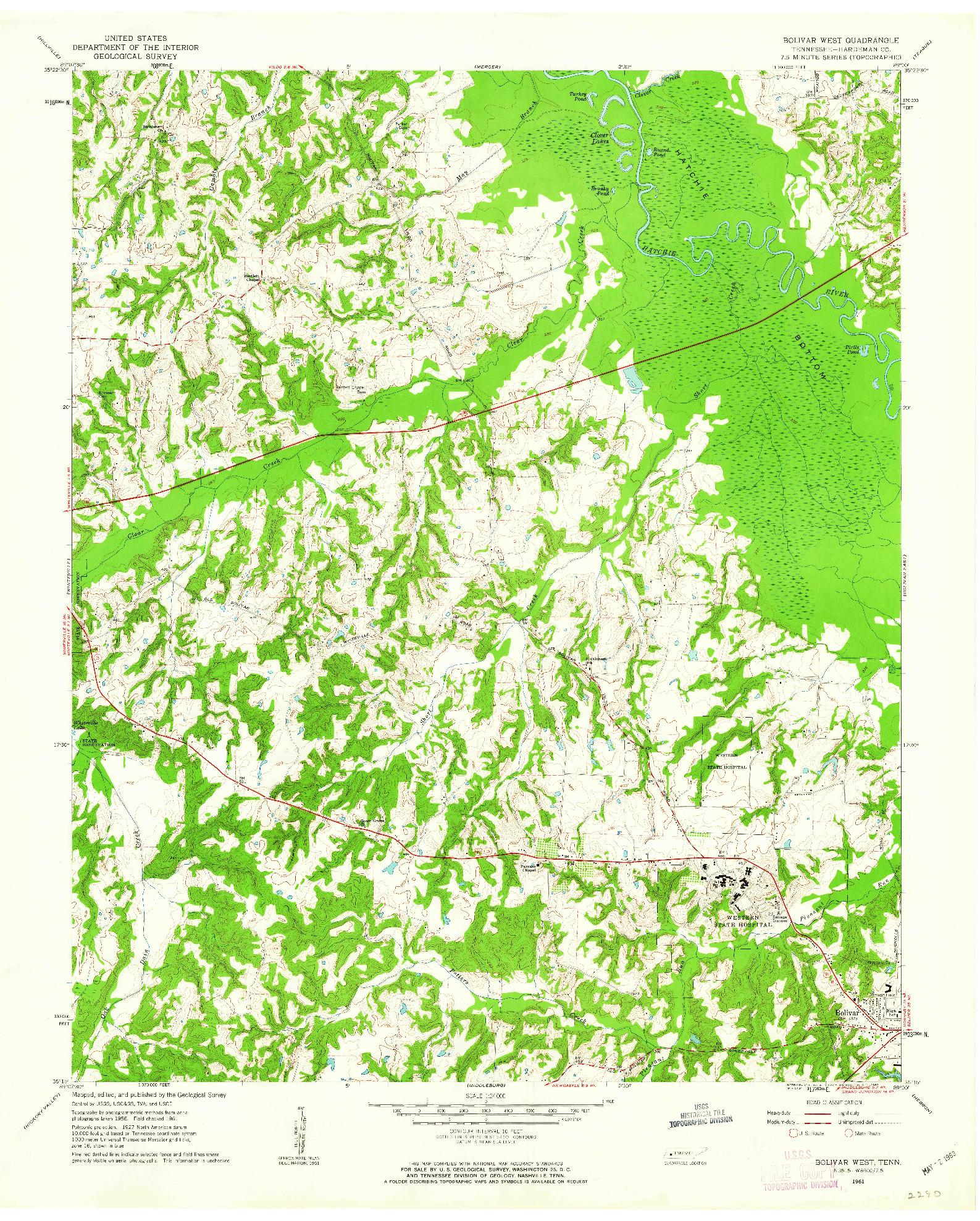USGS 1:24000-SCALE QUADRANGLE FOR BOLIVAR WEST, TN 1961
