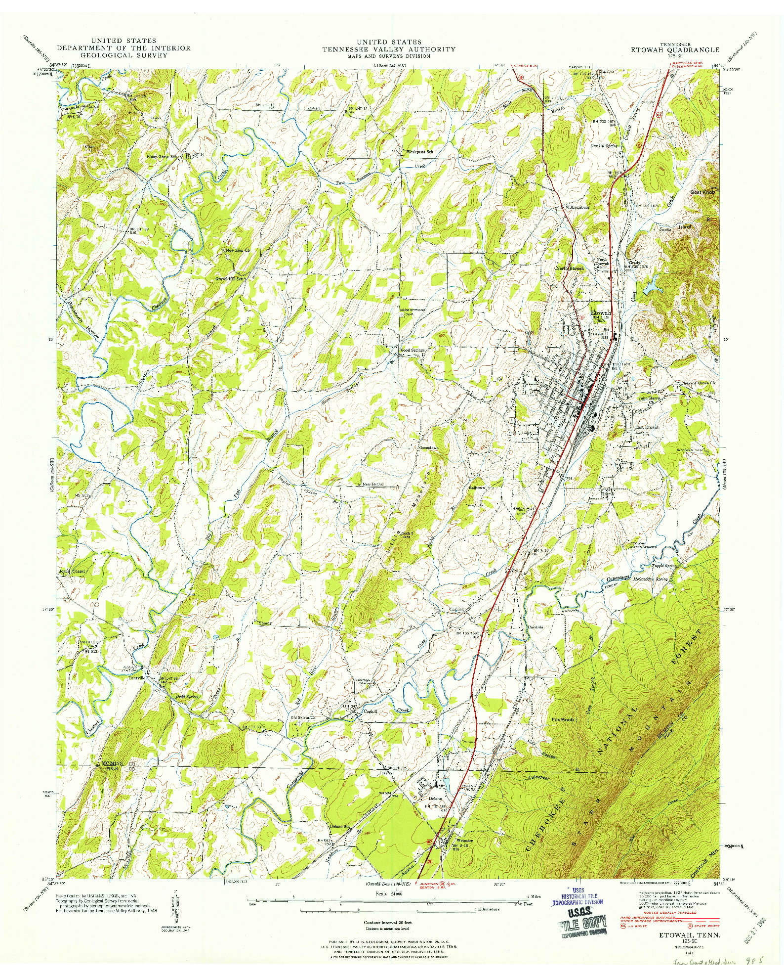 USGS 1:24000-SCALE QUADRANGLE FOR ETOWAH, TN 1943