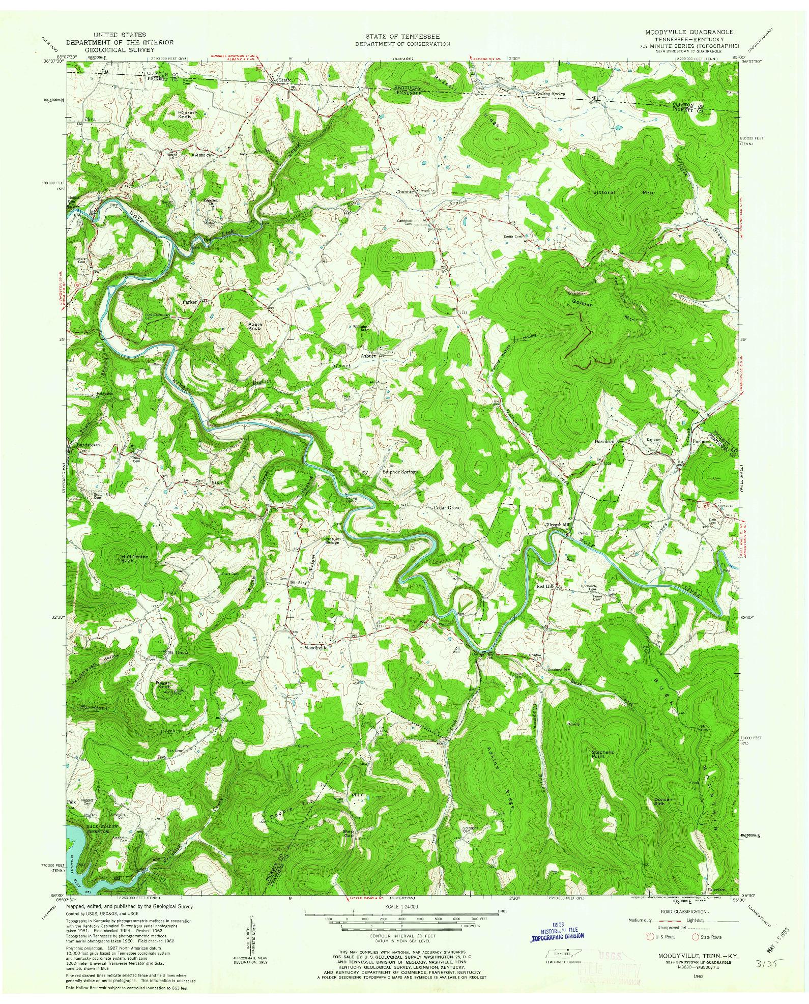 USGS 1:24000-SCALE QUADRANGLE FOR MOODYVILLE, TN 1962