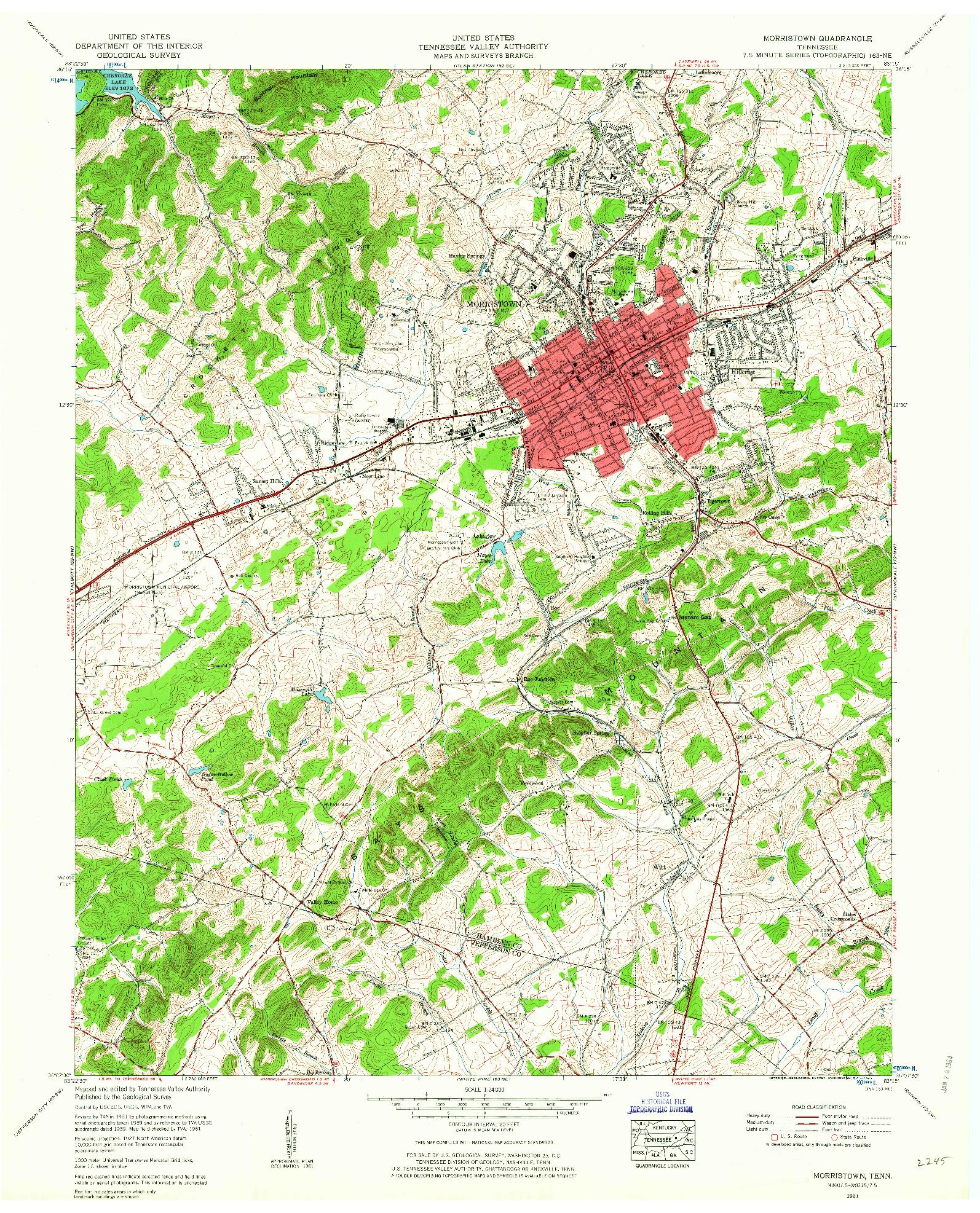 USGS 1:24000-SCALE QUADRANGLE FOR MORRISTOWN, TN 1961