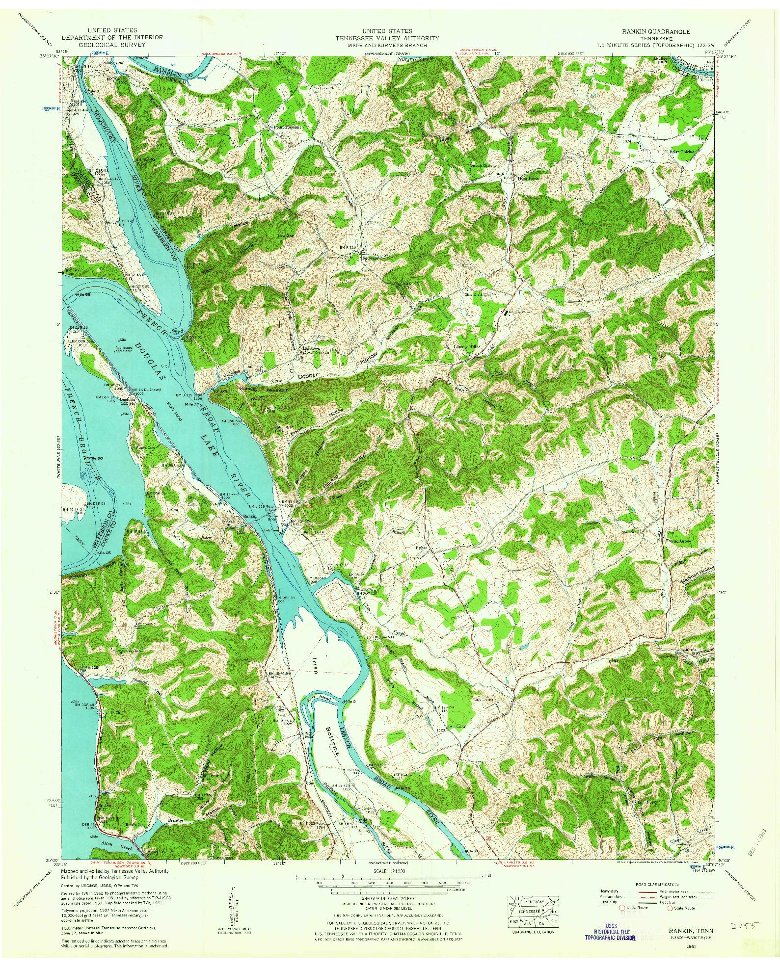 USGS 1:24000-SCALE QUADRANGLE FOR RANKIN, TN 1961