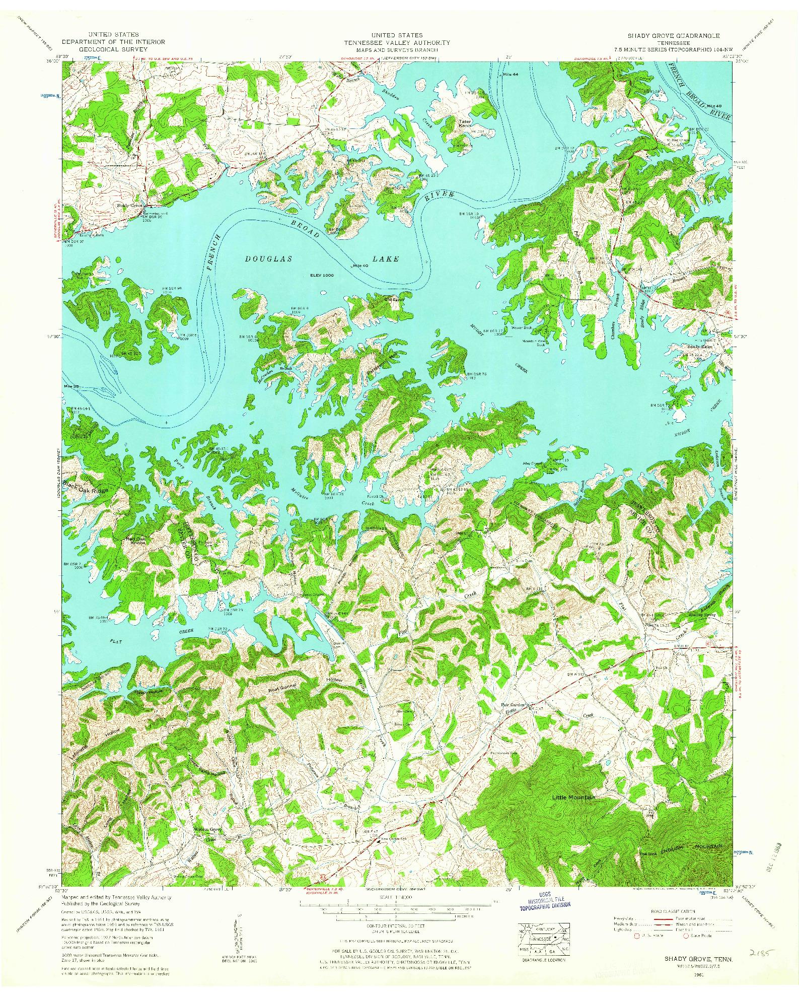 USGS 1:24000-SCALE QUADRANGLE FOR SHADY GROVE, TN 1961