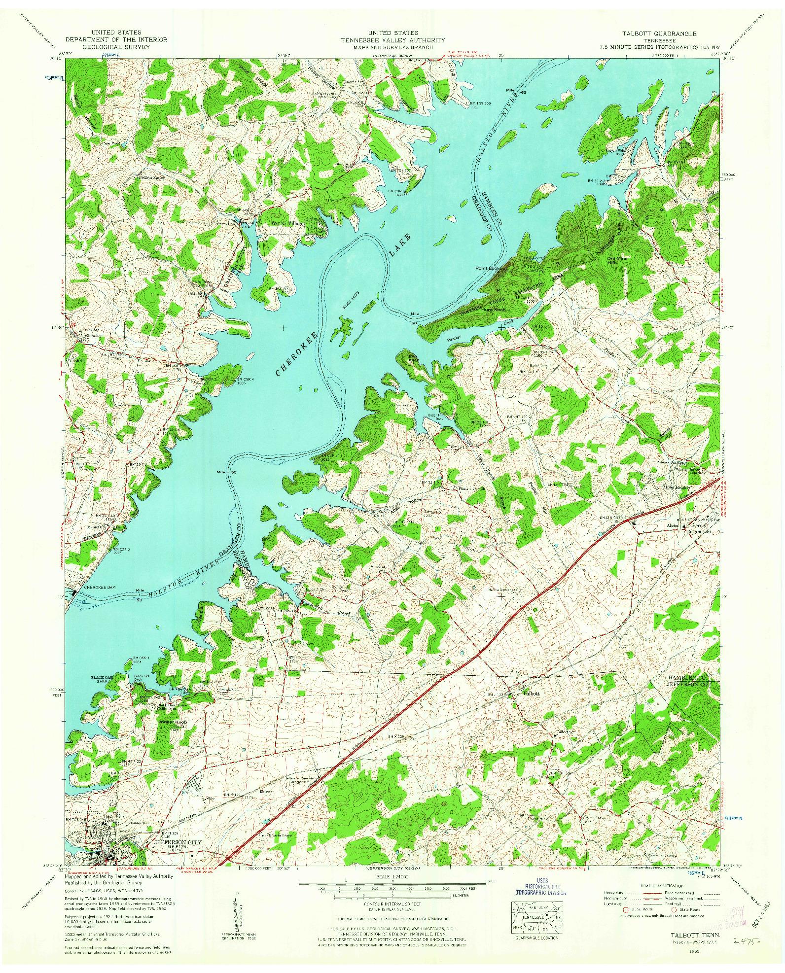 USGS 1:24000-SCALE QUADRANGLE FOR TALBOTT, TN 1960