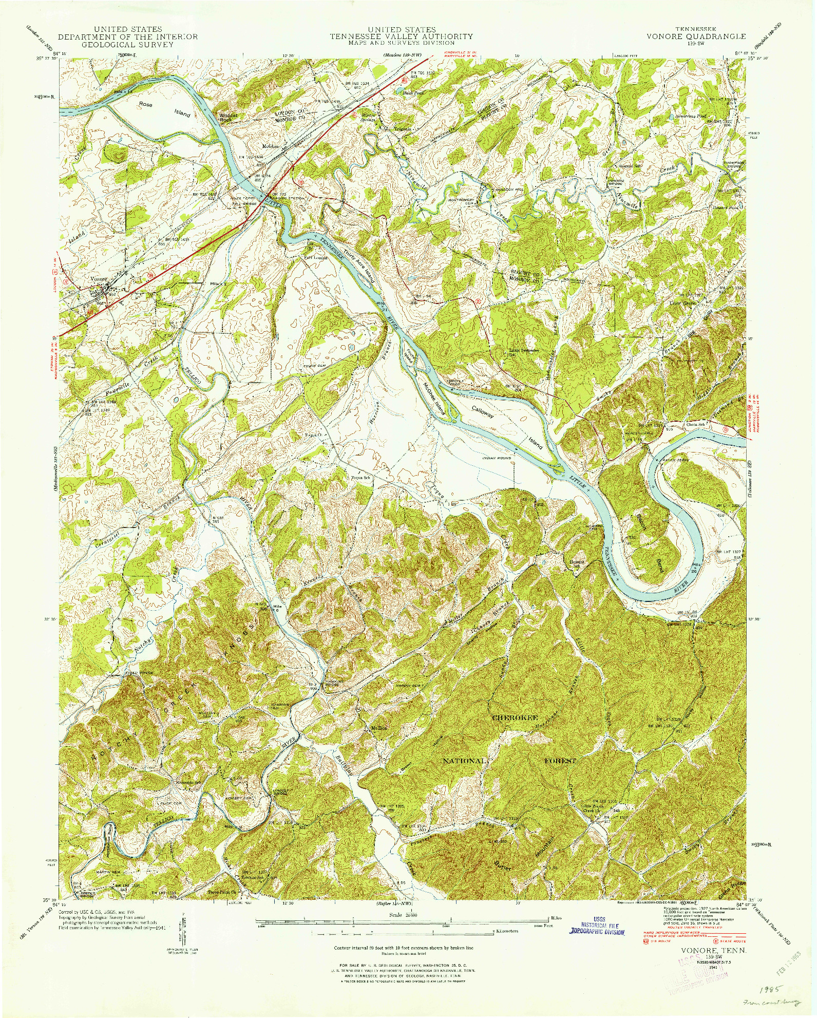 USGS 1:24000-SCALE QUADRANGLE FOR VONORE, TN 1941
