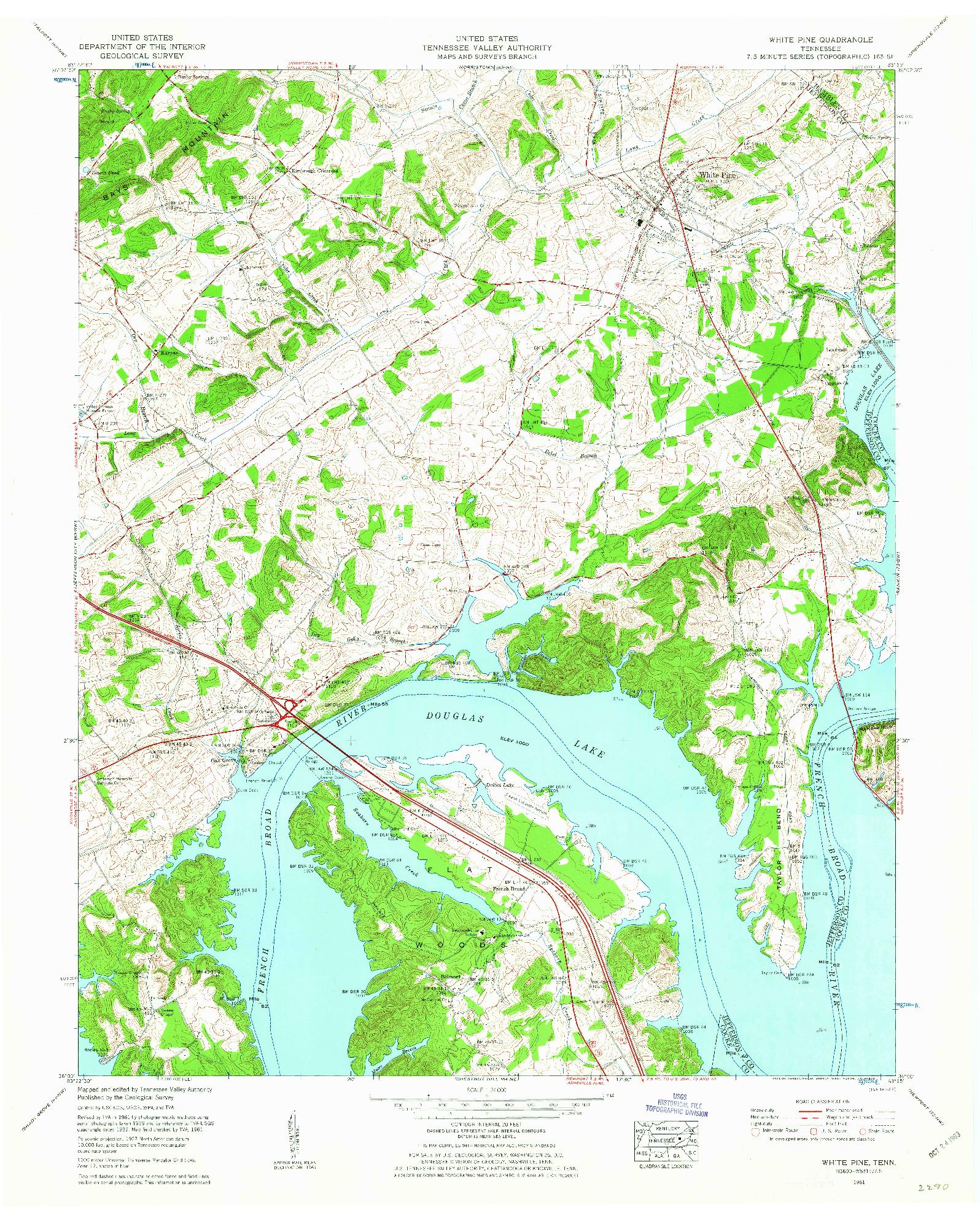 USGS 1:24000-SCALE QUADRANGLE FOR WHITE PINE, TN 1961