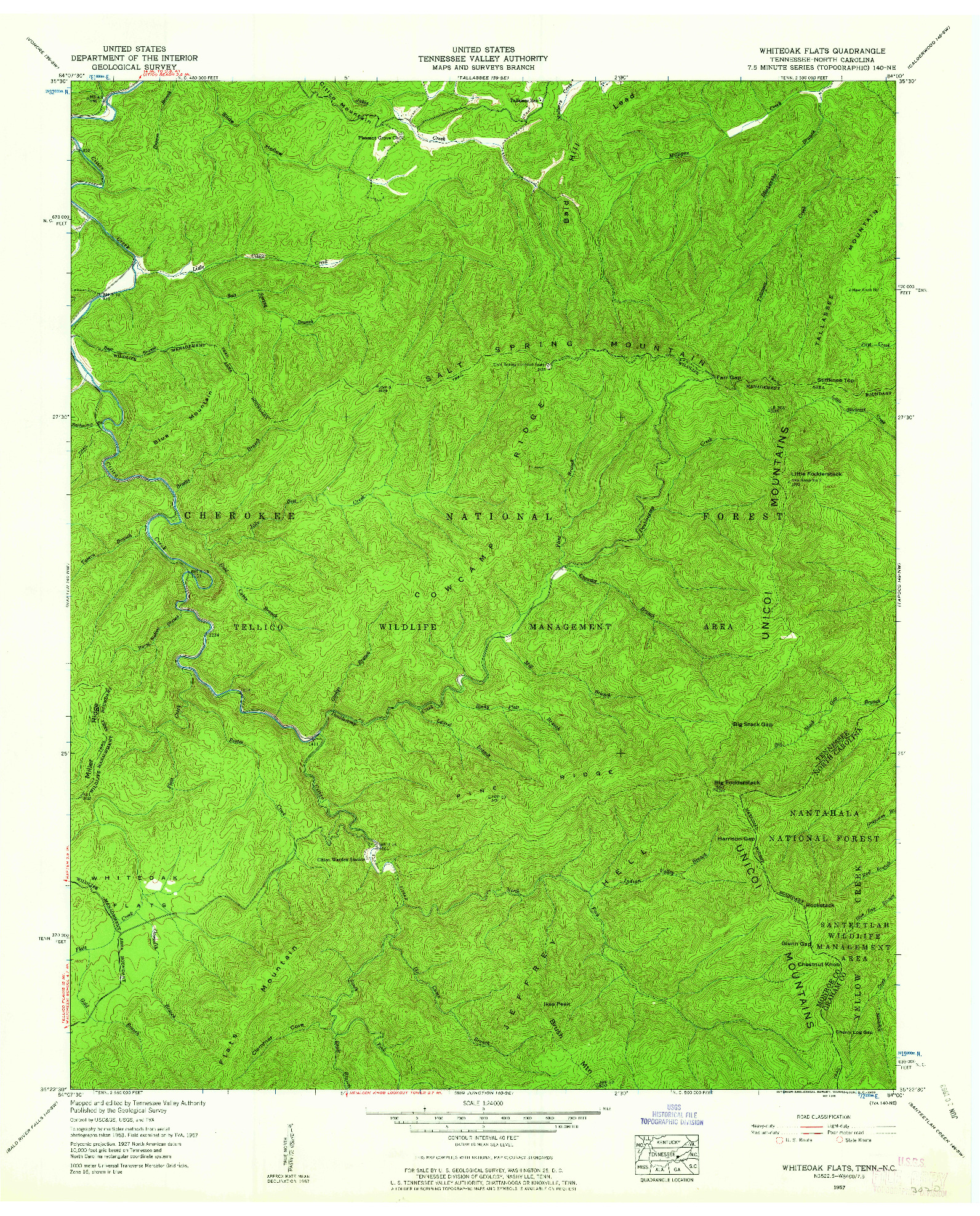 USGS 1:24000-SCALE QUADRANGLE FOR WHITEOAK FLATS, TN 1957