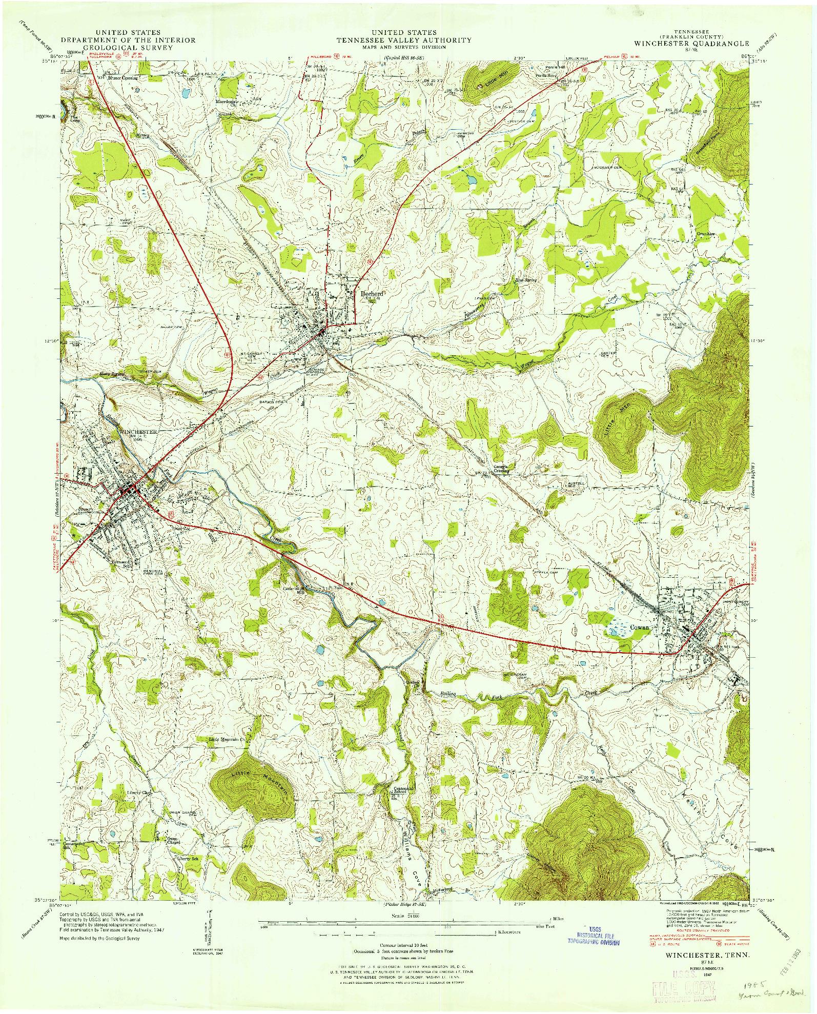 USGS 1:24000-SCALE QUADRANGLE FOR WINCHESTER, TN 1947