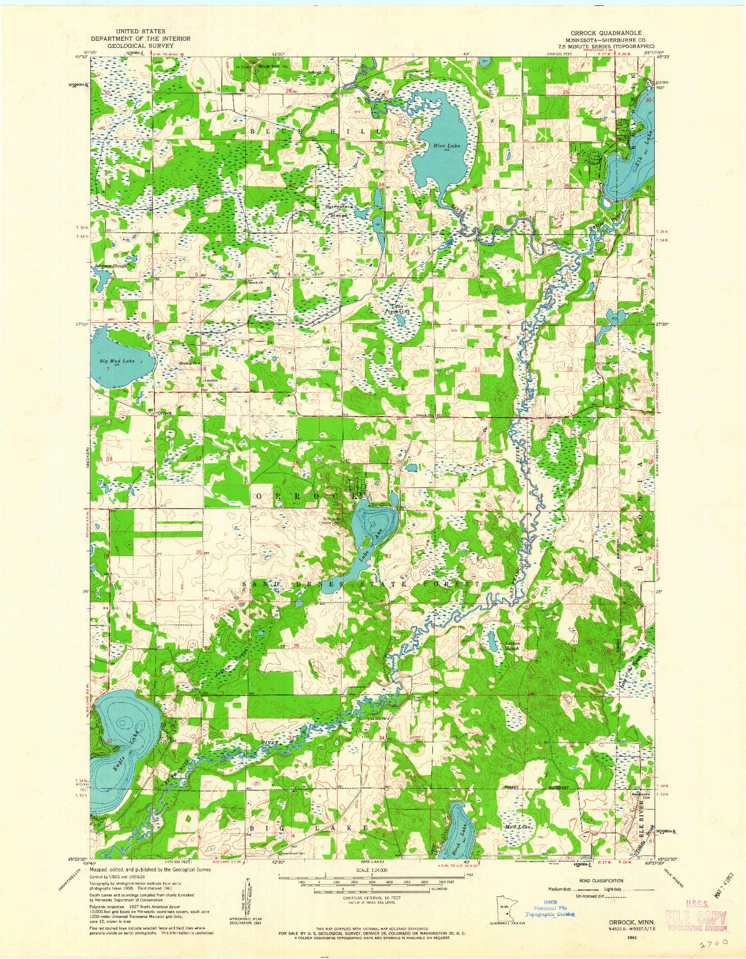USGS 1:24000-SCALE QUADRANGLE FOR ORROCK, MN 1961