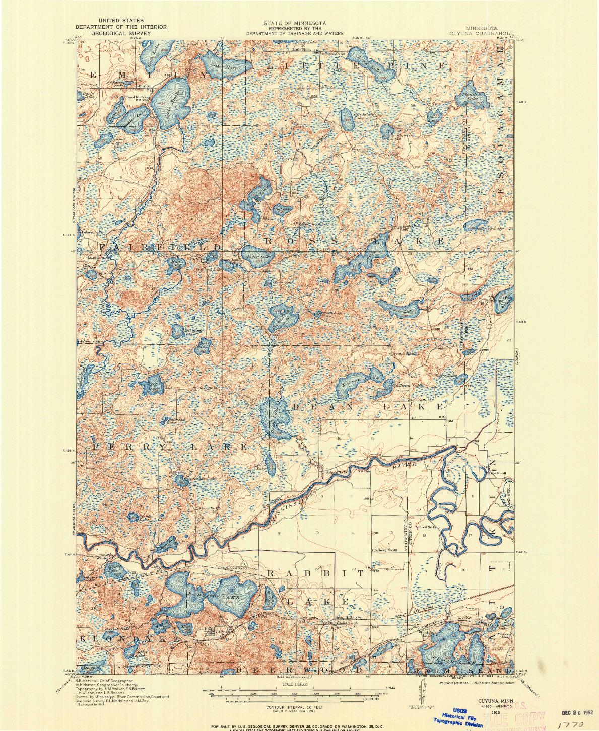 USGS 1:62500-SCALE QUADRANGLE FOR CUYUNA, MN 1913