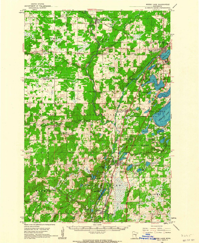 USGS 1:62500-SCALE QUADRANGLE FOR MOOSE LAKE, MN 1961