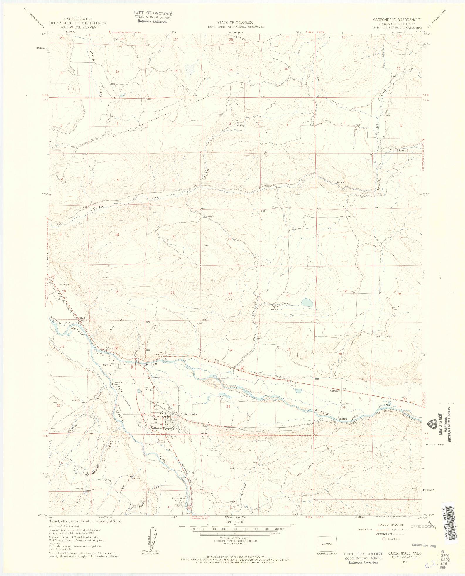 USGS 1:24000-SCALE QUADRANGLE FOR CARBONDALE, CO 1961