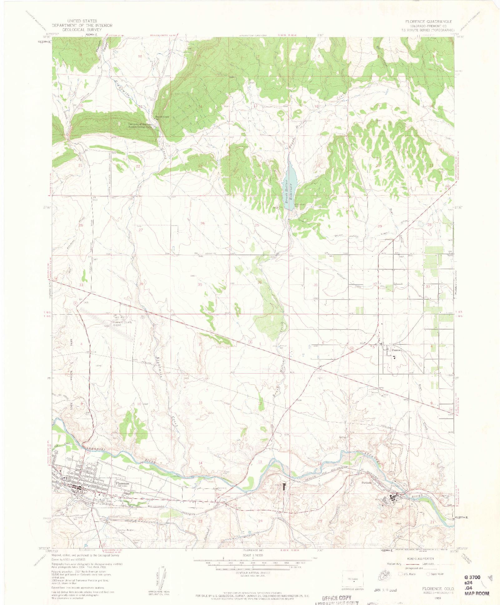 USGS 1:24000-SCALE QUADRANGLE FOR FLORENCE, CO 1959