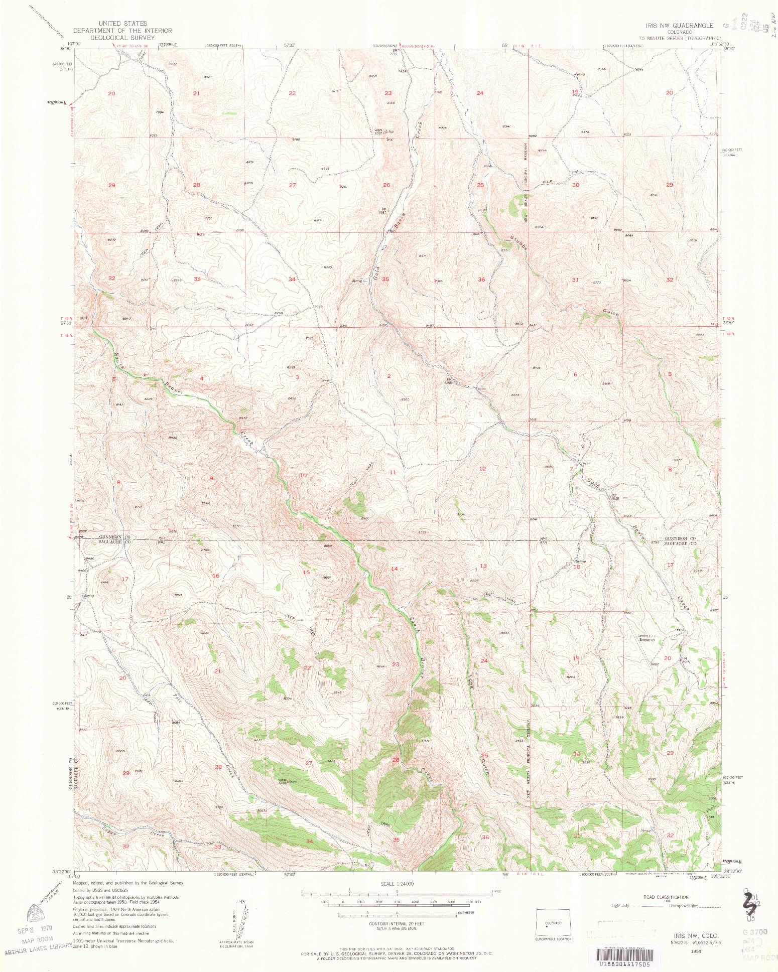 USGS 1:24000-SCALE QUADRANGLE FOR IRIS NW, CO 1954