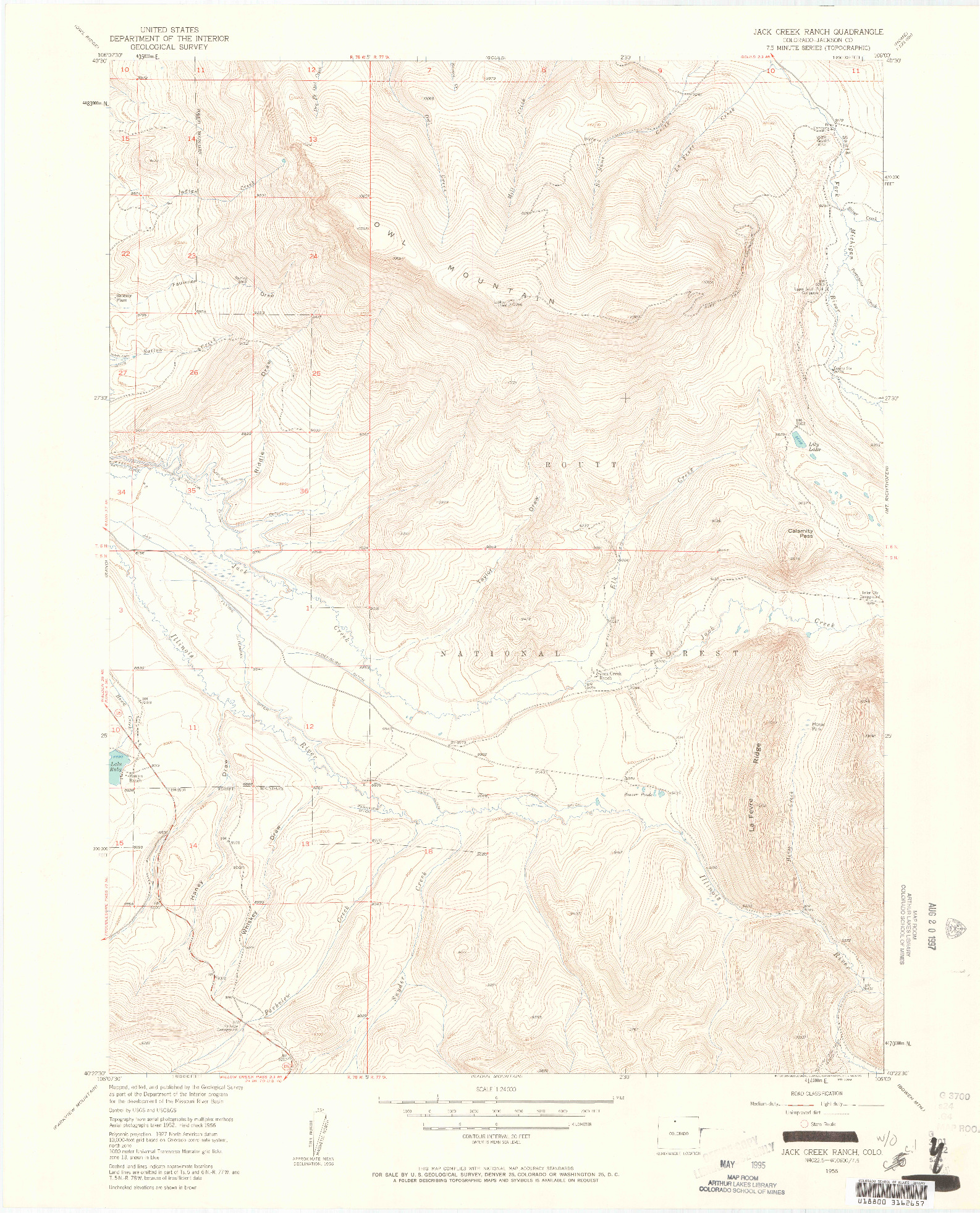 USGS 1:24000-SCALE QUADRANGLE FOR JACK CREEK RANCH, CO 1956