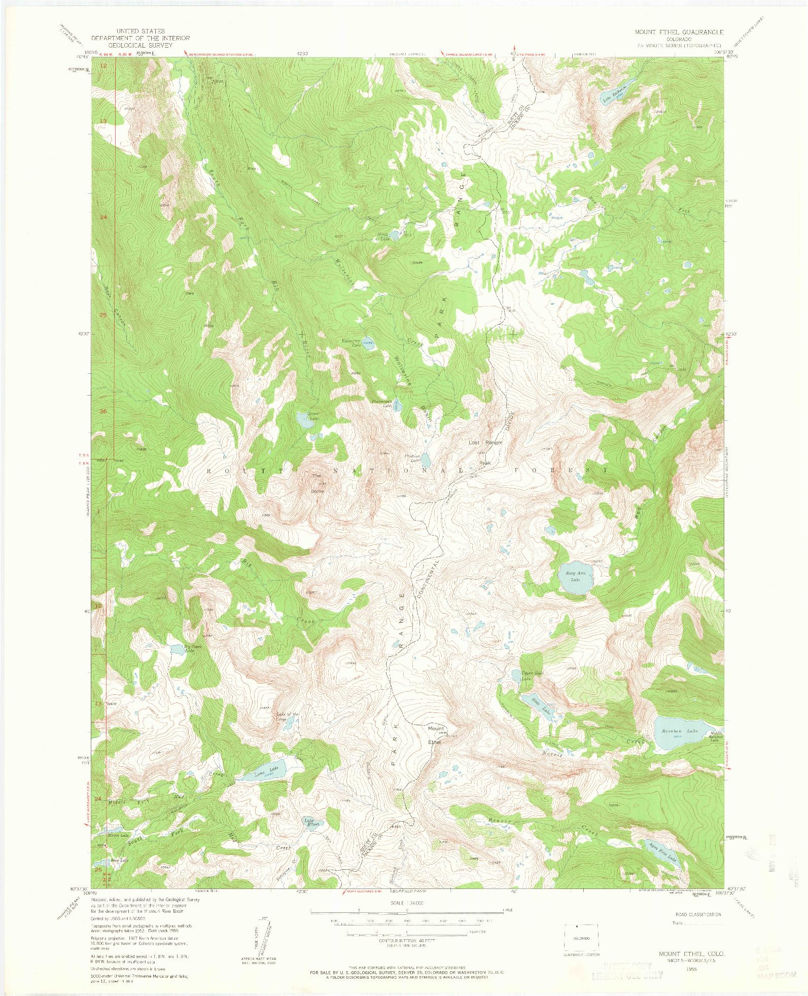 USGS 1:24000-SCALE QUADRANGLE FOR MOUNT ETHEL, CO 1955