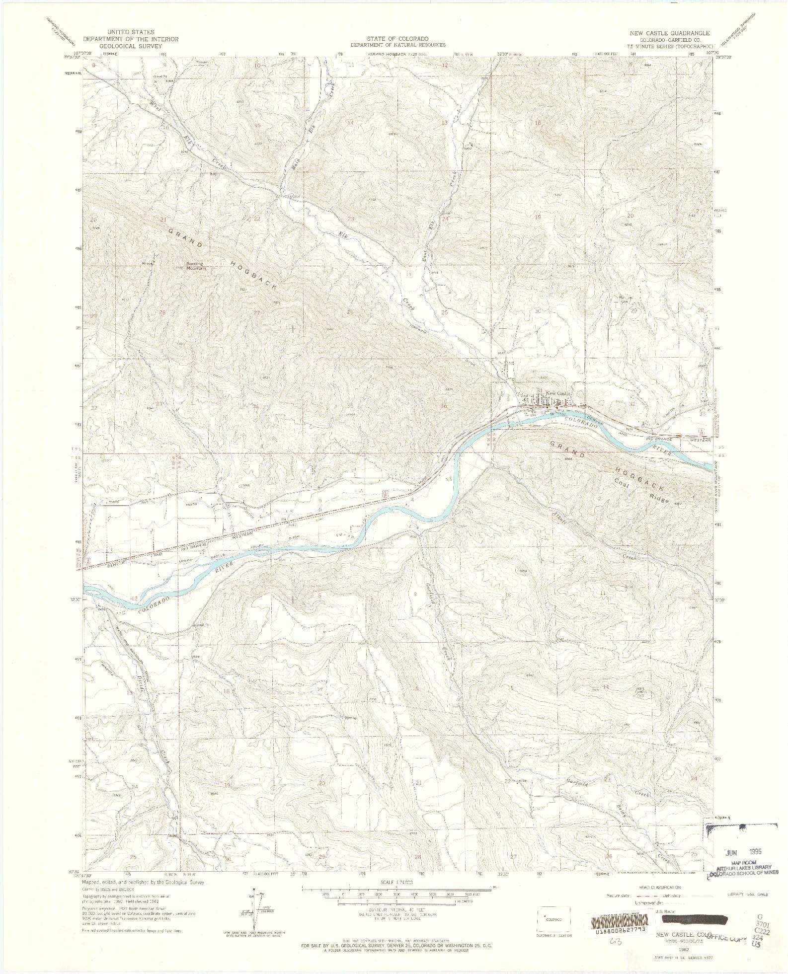 USGS 1:24000-SCALE QUADRANGLE FOR NEW CASTLE, CO 1962