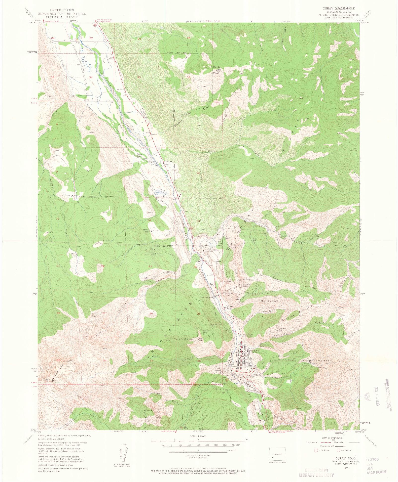 USGS 1:24000-SCALE QUADRANGLE FOR OURAY, CO 1955