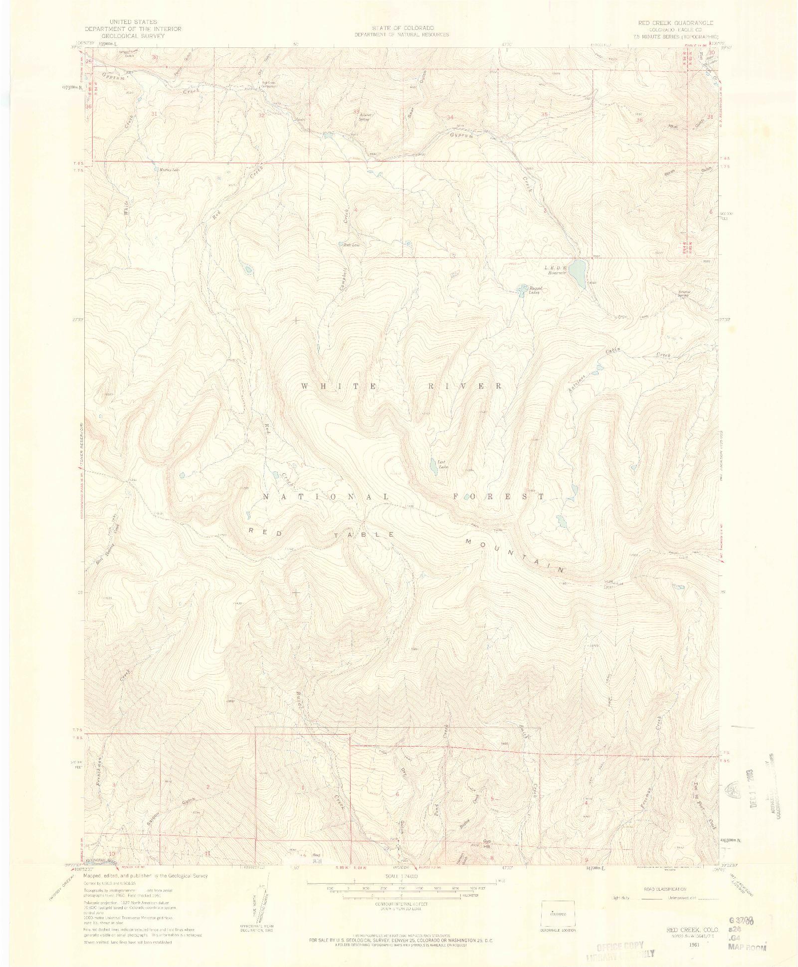 USGS 1:24000-SCALE QUADRANGLE FOR RED CREEK, CO 1961