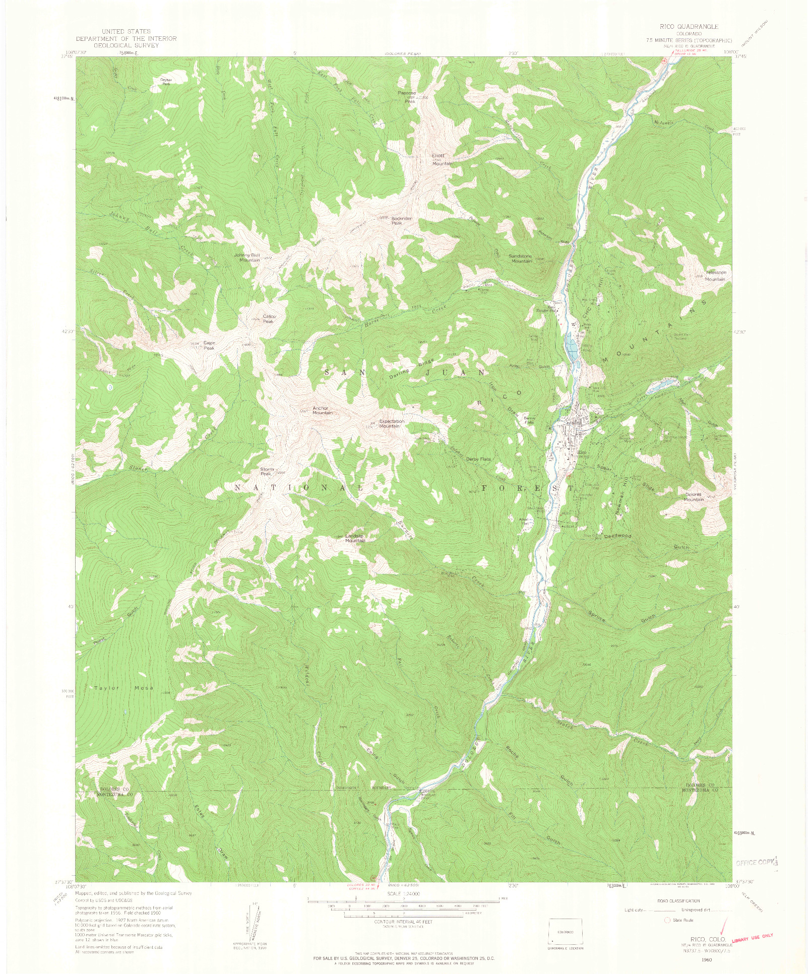USGS 1:24000-SCALE QUADRANGLE FOR RICO, CO 1960