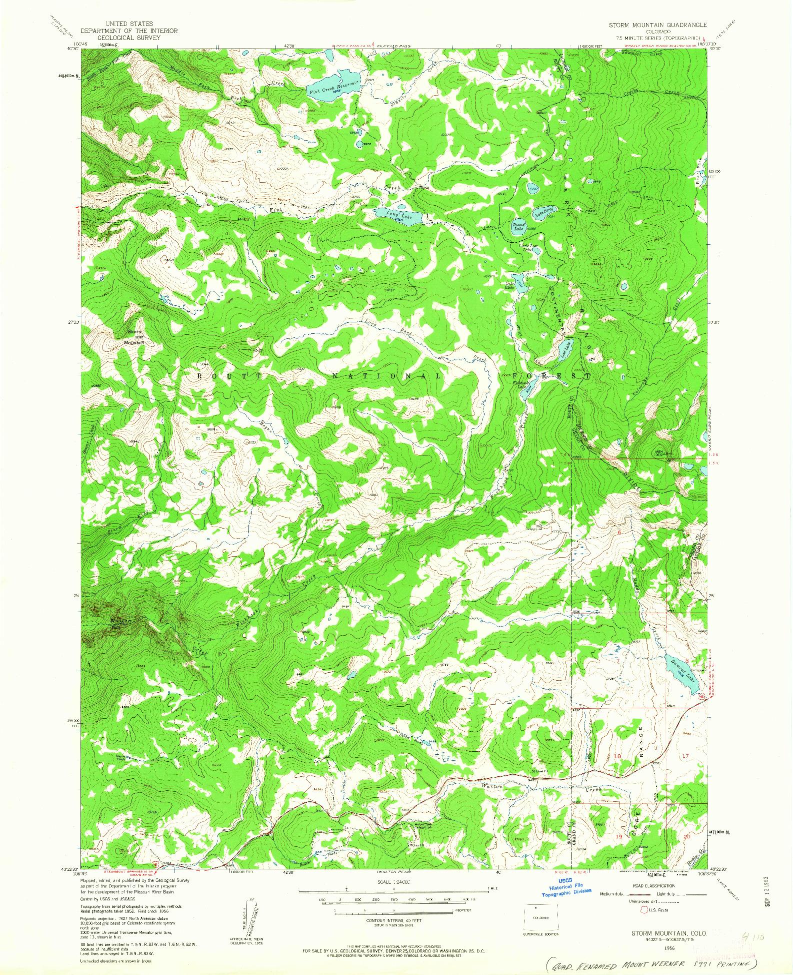 USGS 1:24000-SCALE QUADRANGLE FOR STORM MOUNTAIN, CO 1956