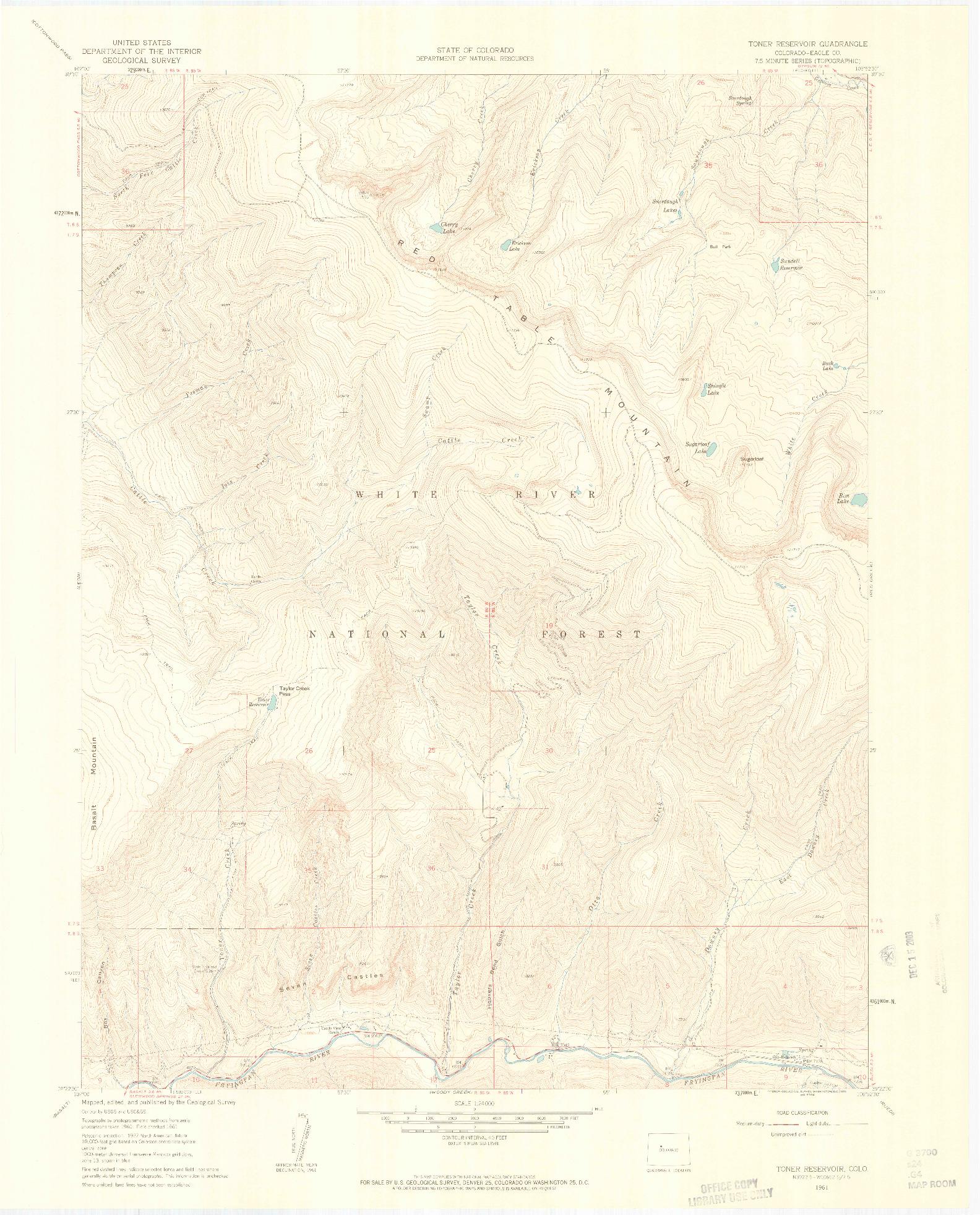 USGS 1:24000-SCALE QUADRANGLE FOR TONER RESERVOIR, CO 1961