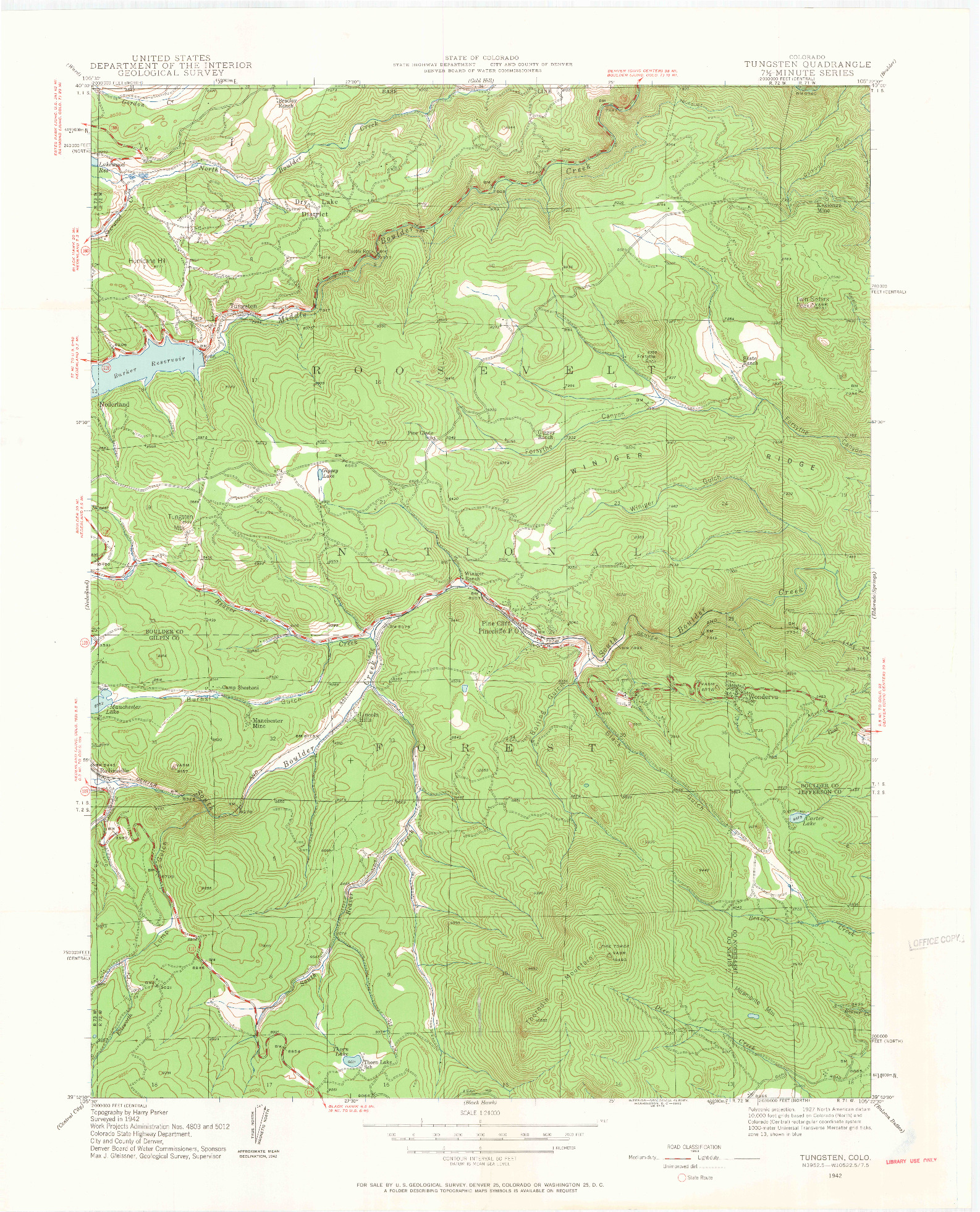 USGS 1:24000-SCALE QUADRANGLE FOR TUNGSTEN, CO 1942