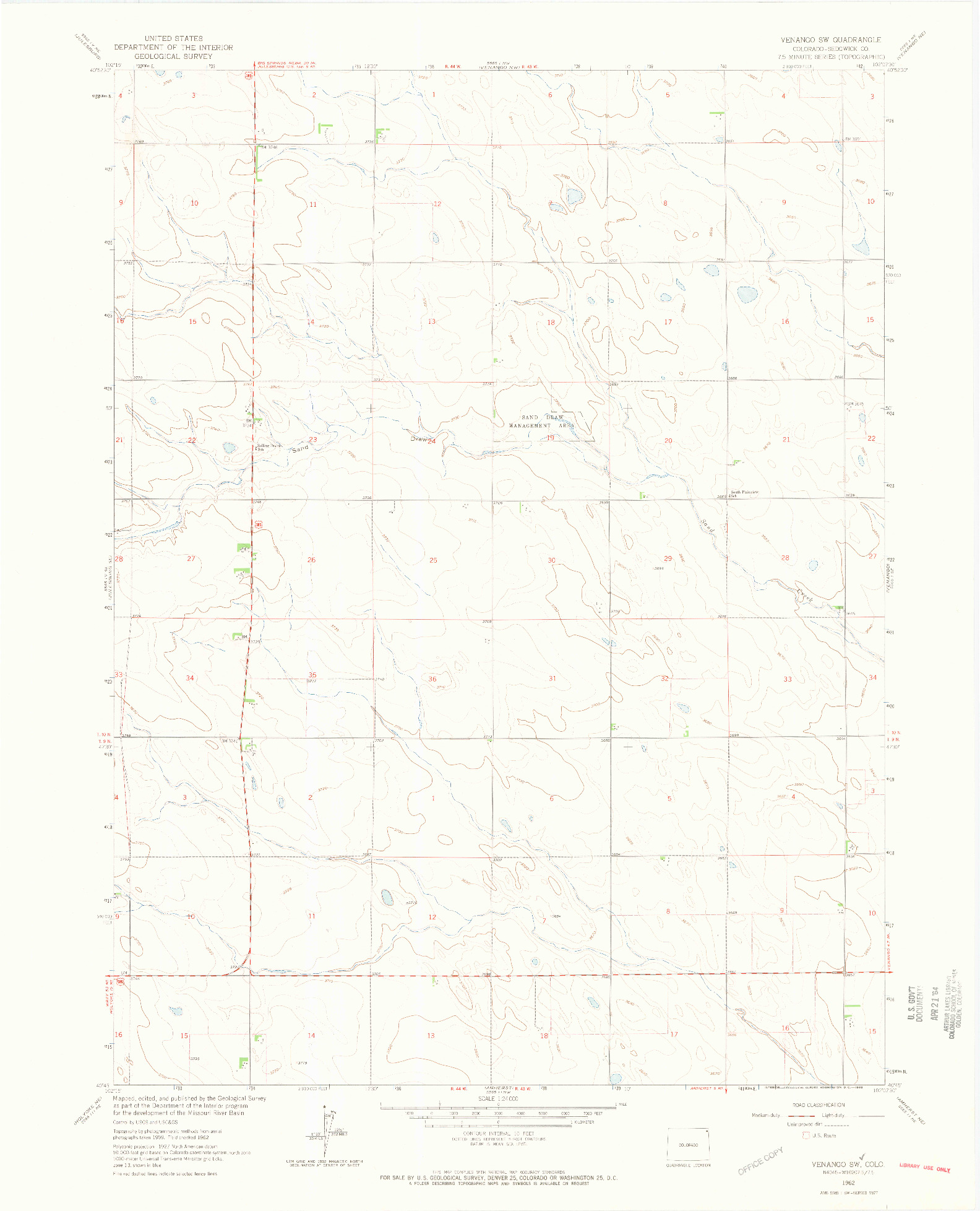 USGS 1:24000-SCALE QUADRANGLE FOR VENANGO SW, CO 1962